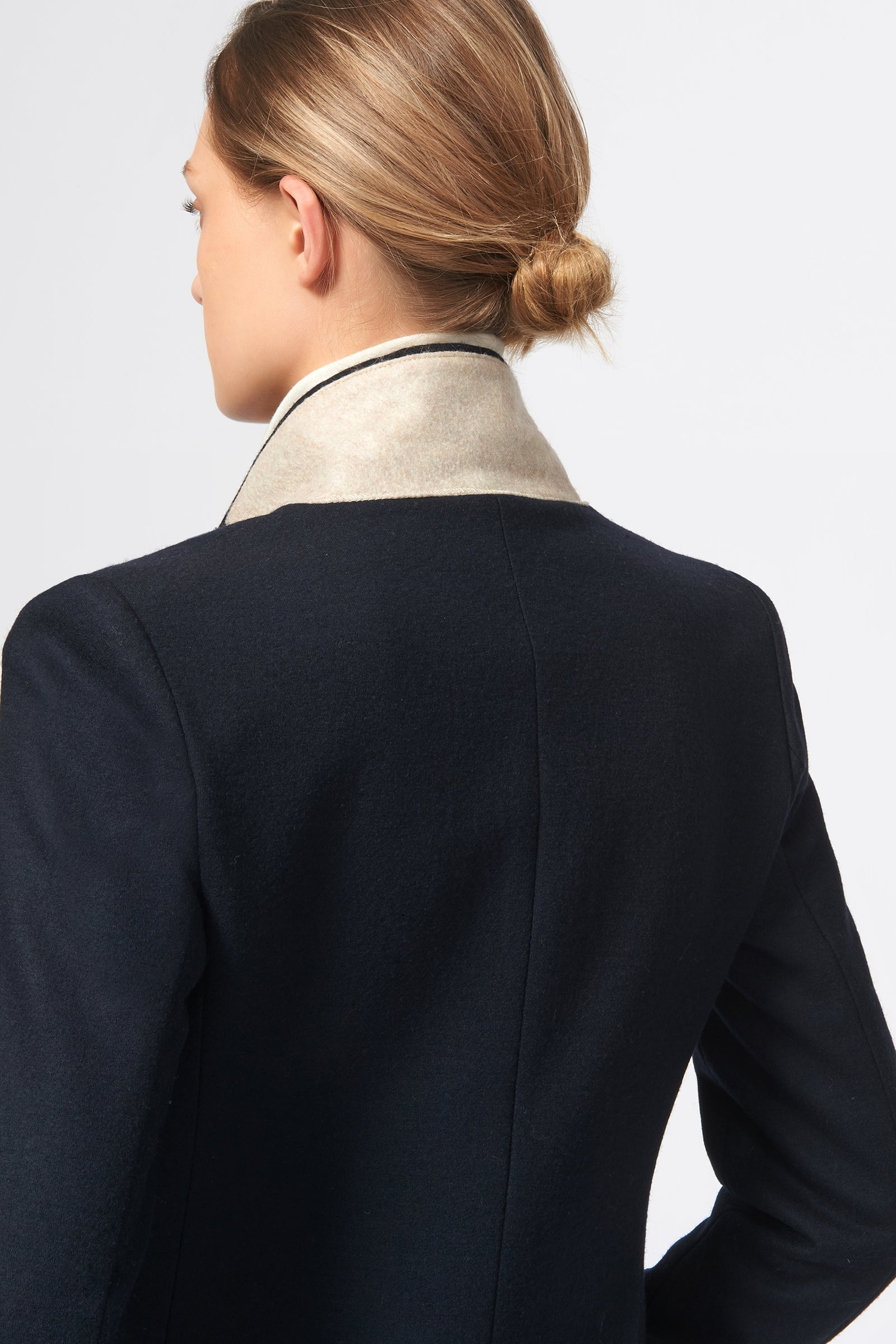 Kal Rieman Tailored Tux Blazer in Felted Jersey in Midnight on Model Back View
