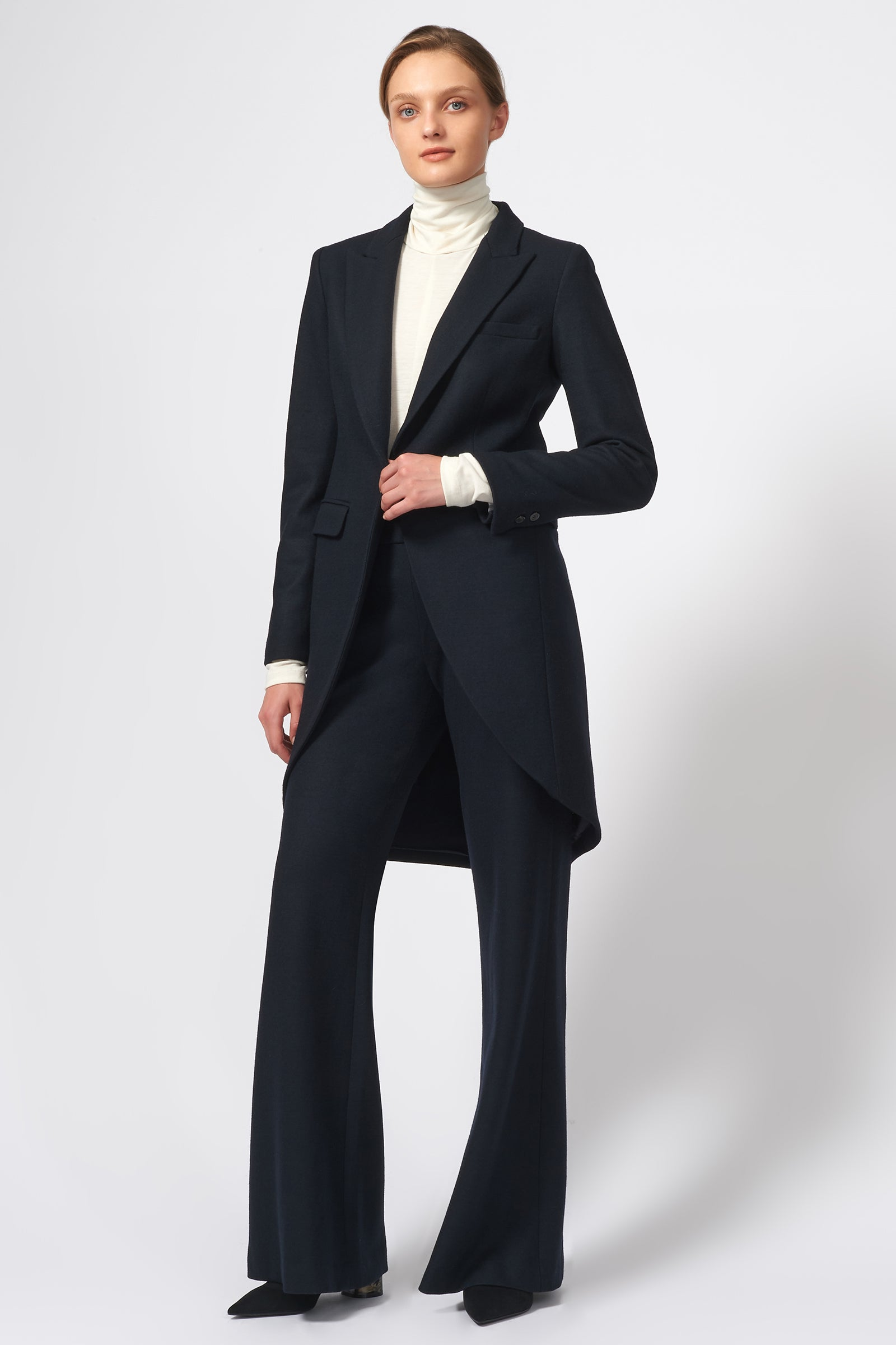 Kal Rieman Tailored Tux Blazer in Felted Jersey in Midnight on Model Front Full View