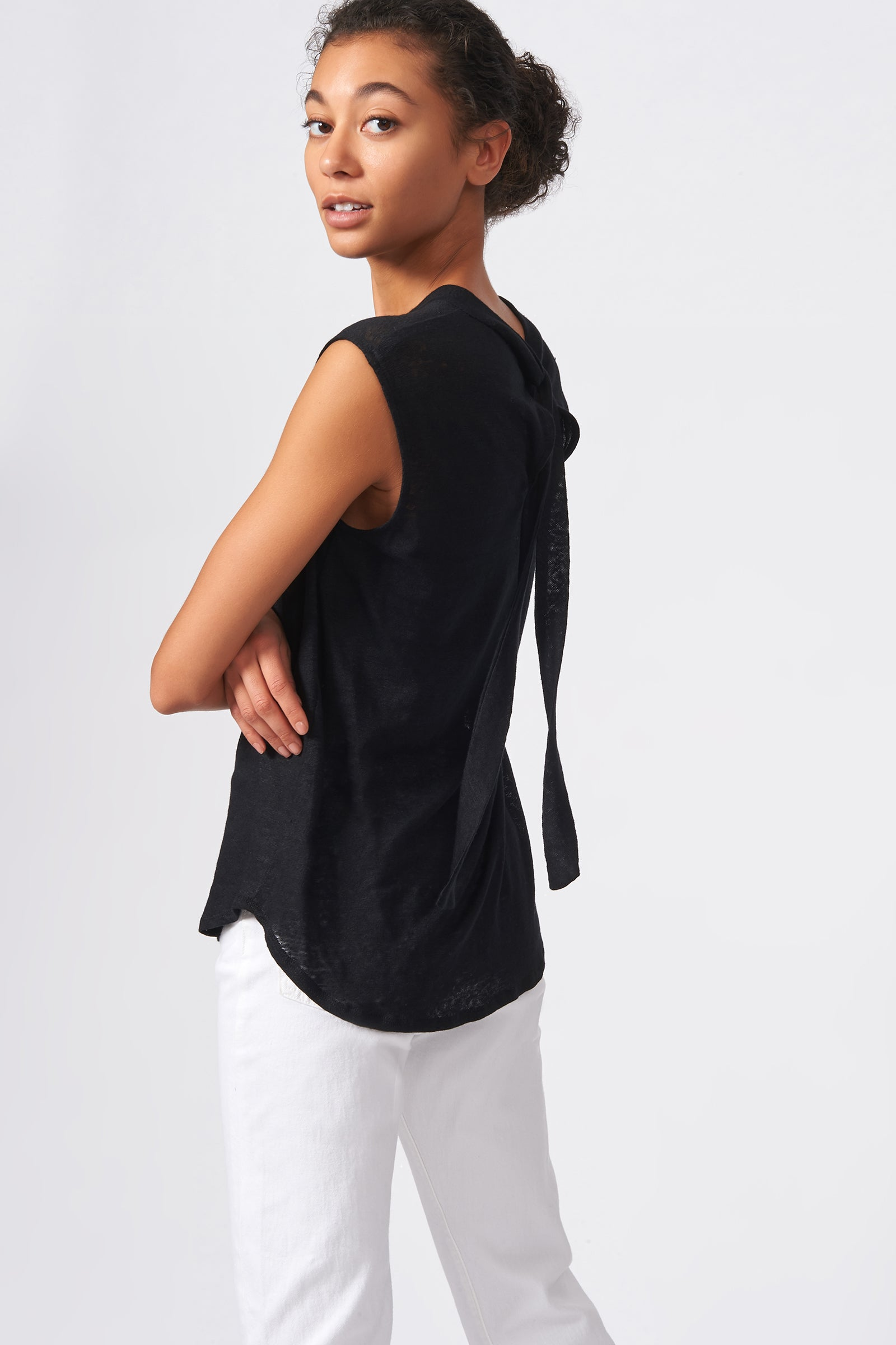 Kal Rieman Tie Back Tank in Black on Model Back Side View
