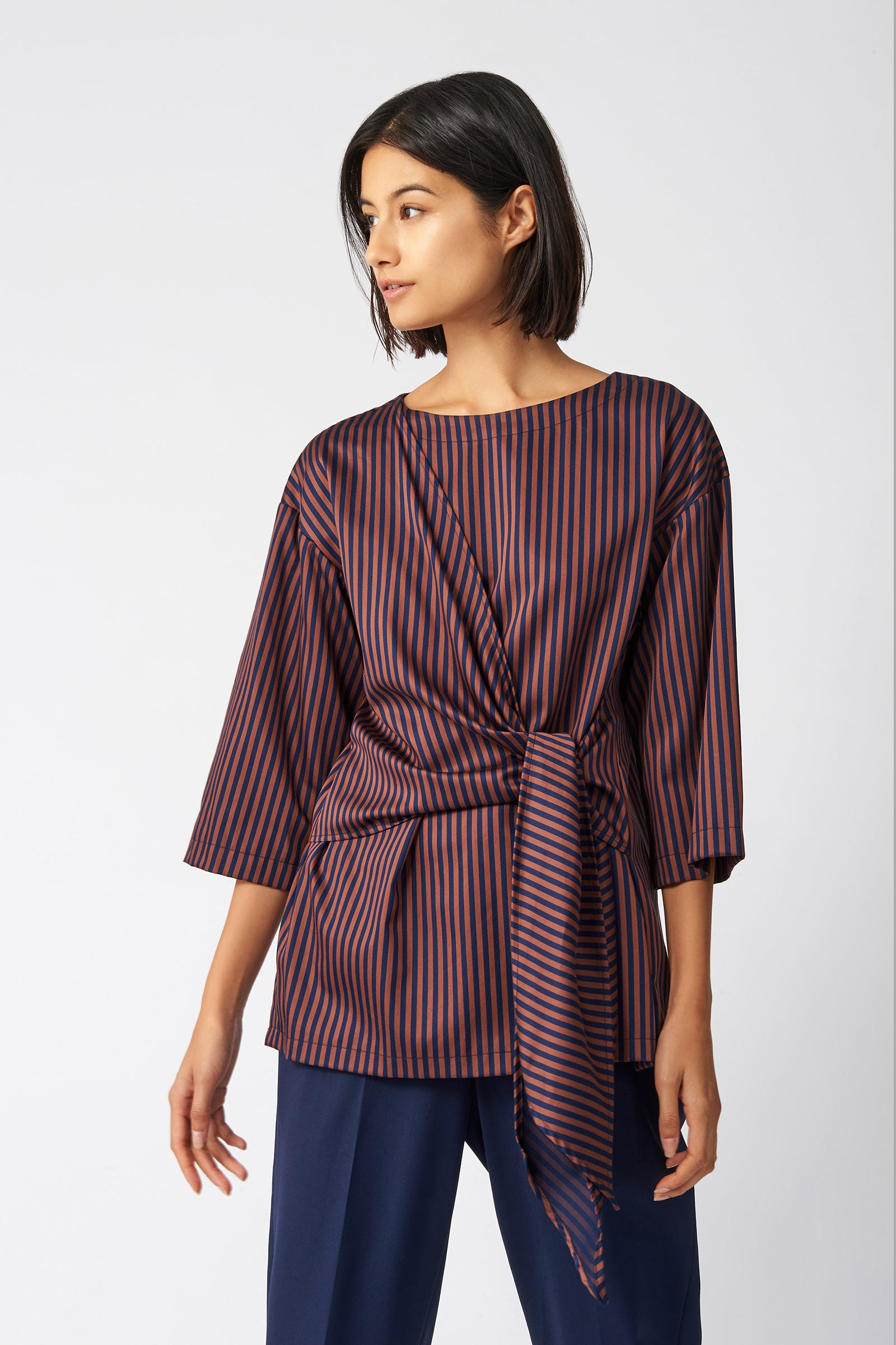 Kal Rieman Tie Front Tunic in Stripe on Model Front View