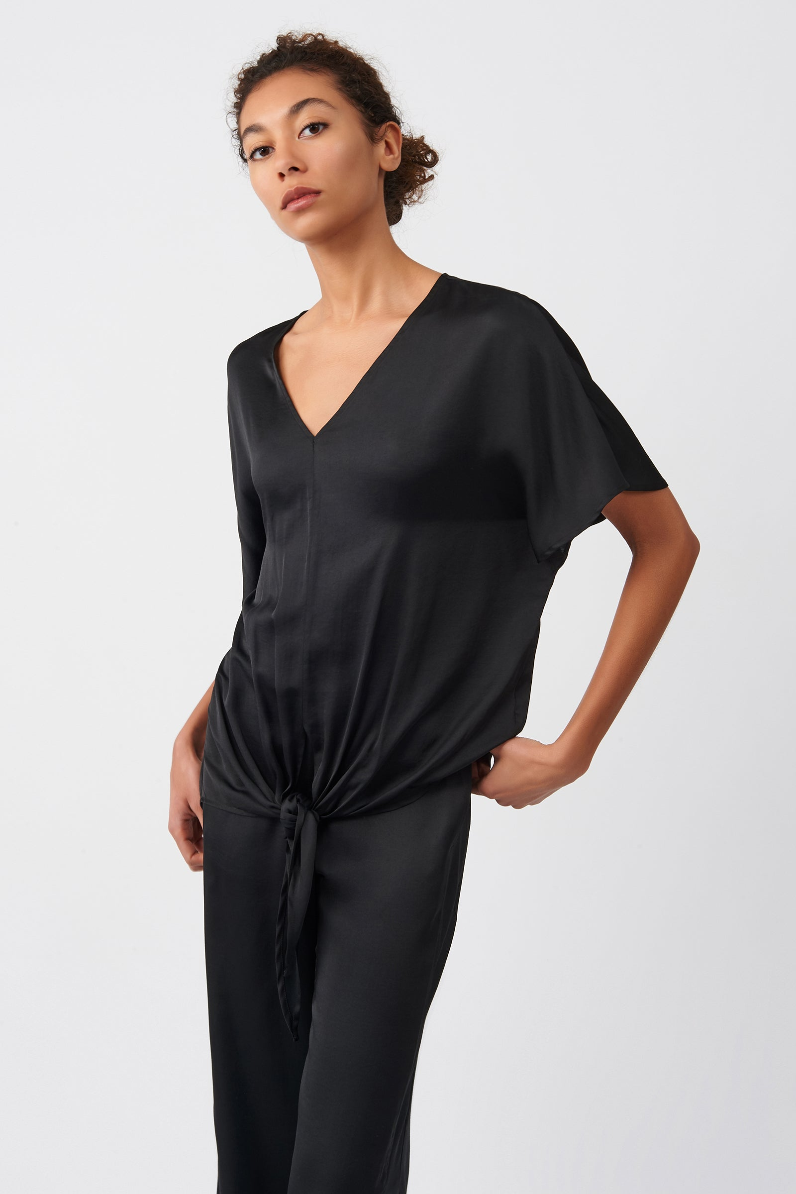 Kal Rieman Tie Front Top in Black on Model Front Side View