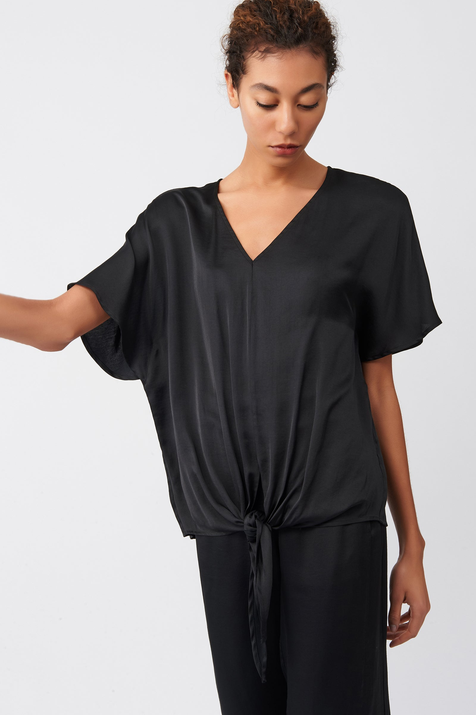 Kal Rieman Tie Front Top in Black on Model Front View