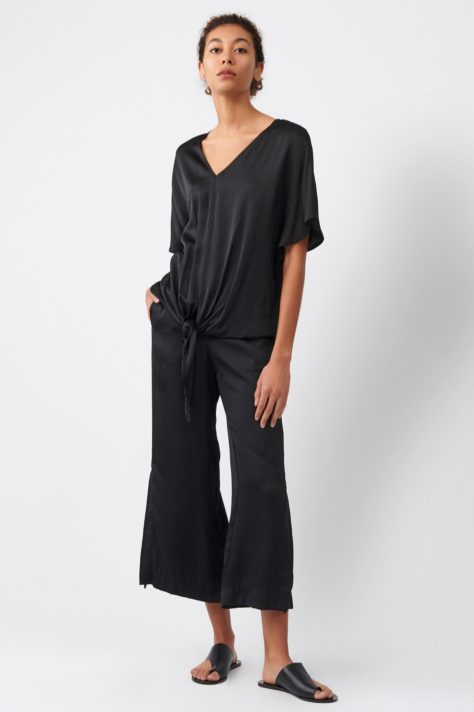 Kal Rieman Tie Front Top in Black on Model Full Front View