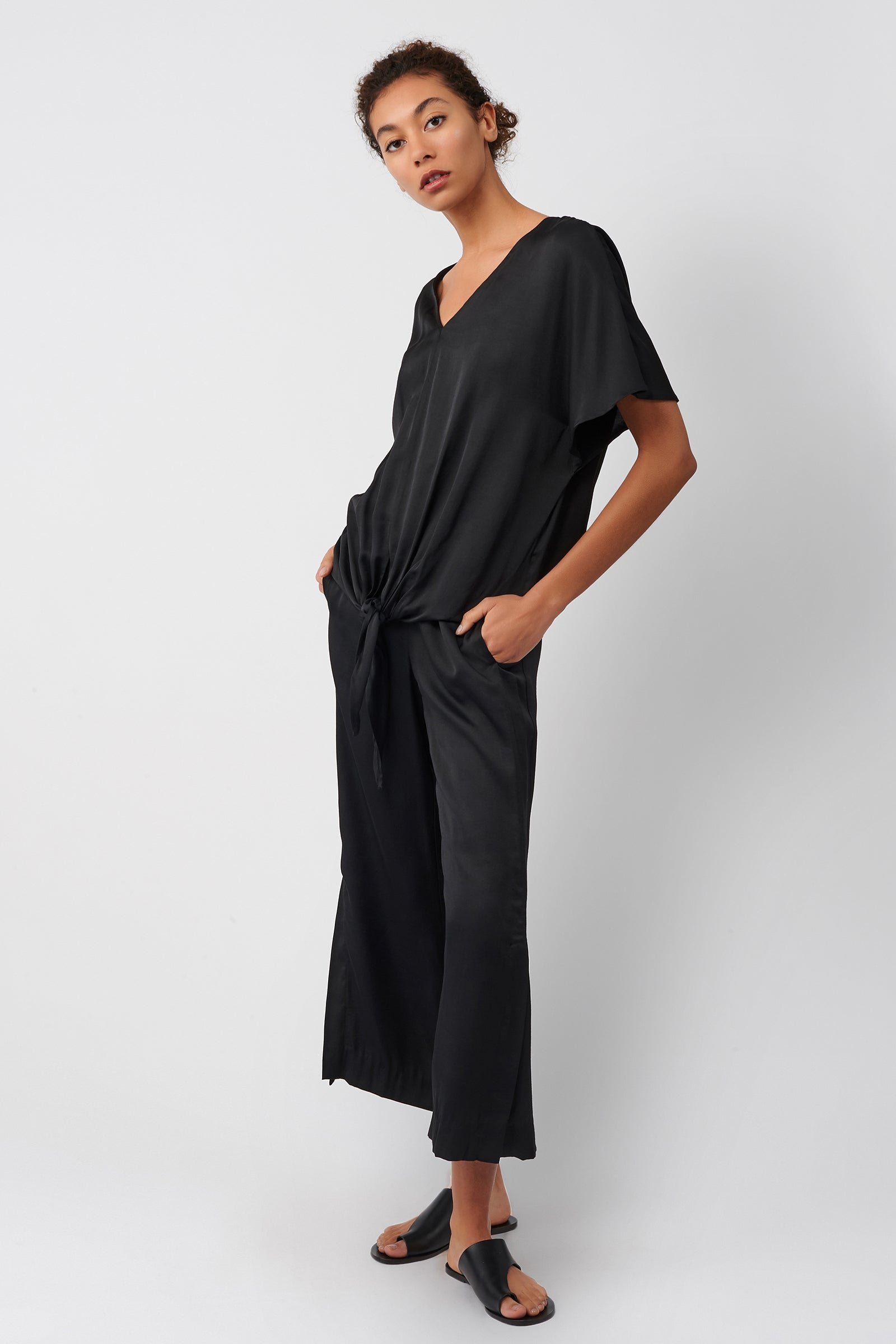 Kal Rieman Tie Front Top in Black on Model Full Side View