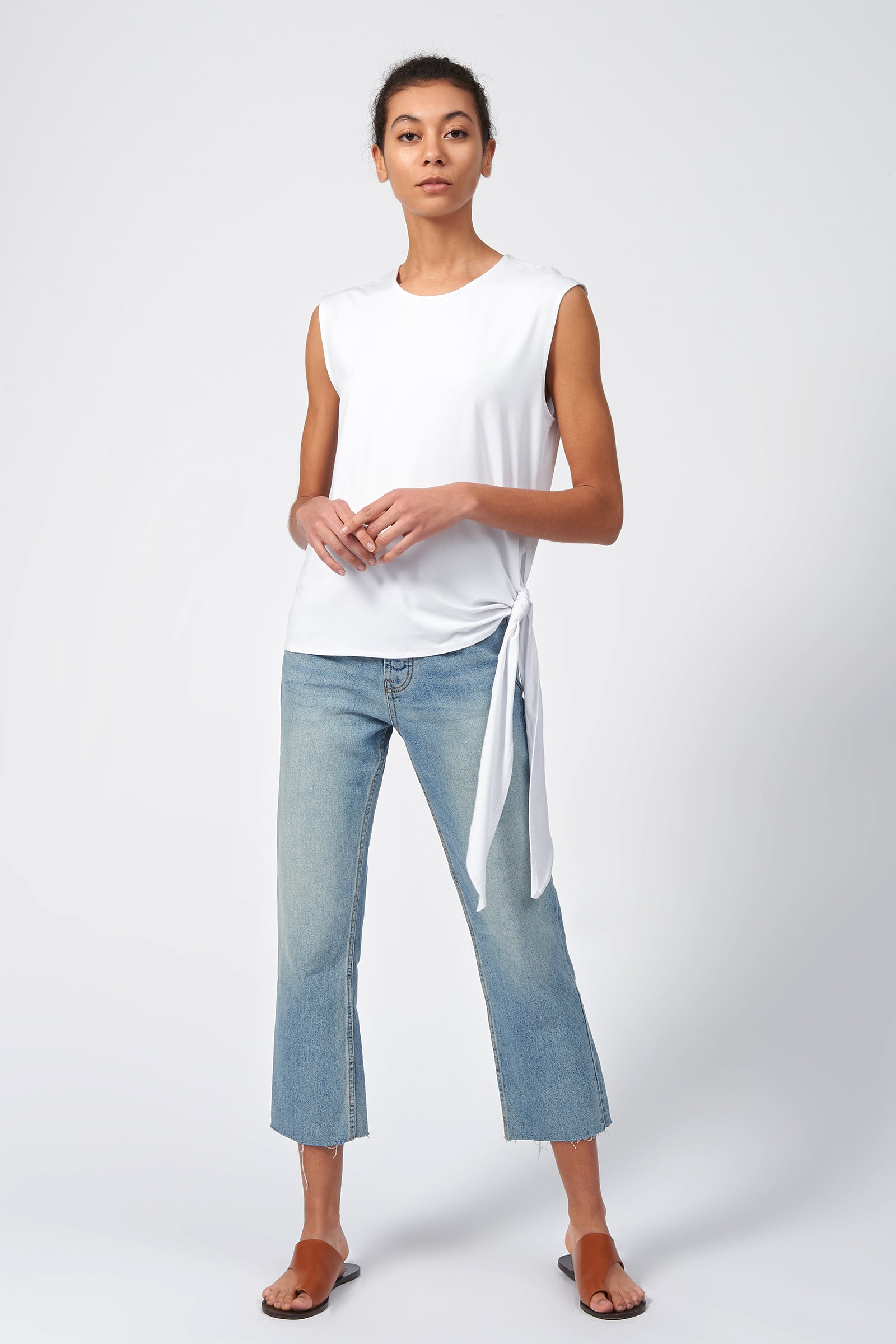Kal Rieman Tip Hip Tank in White on Model Front View