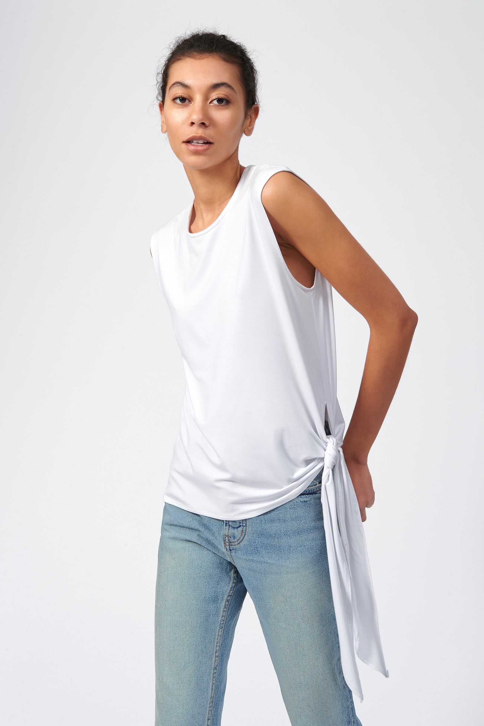 Kal Rieman Tip Hip Tank in White on Model Front Side View