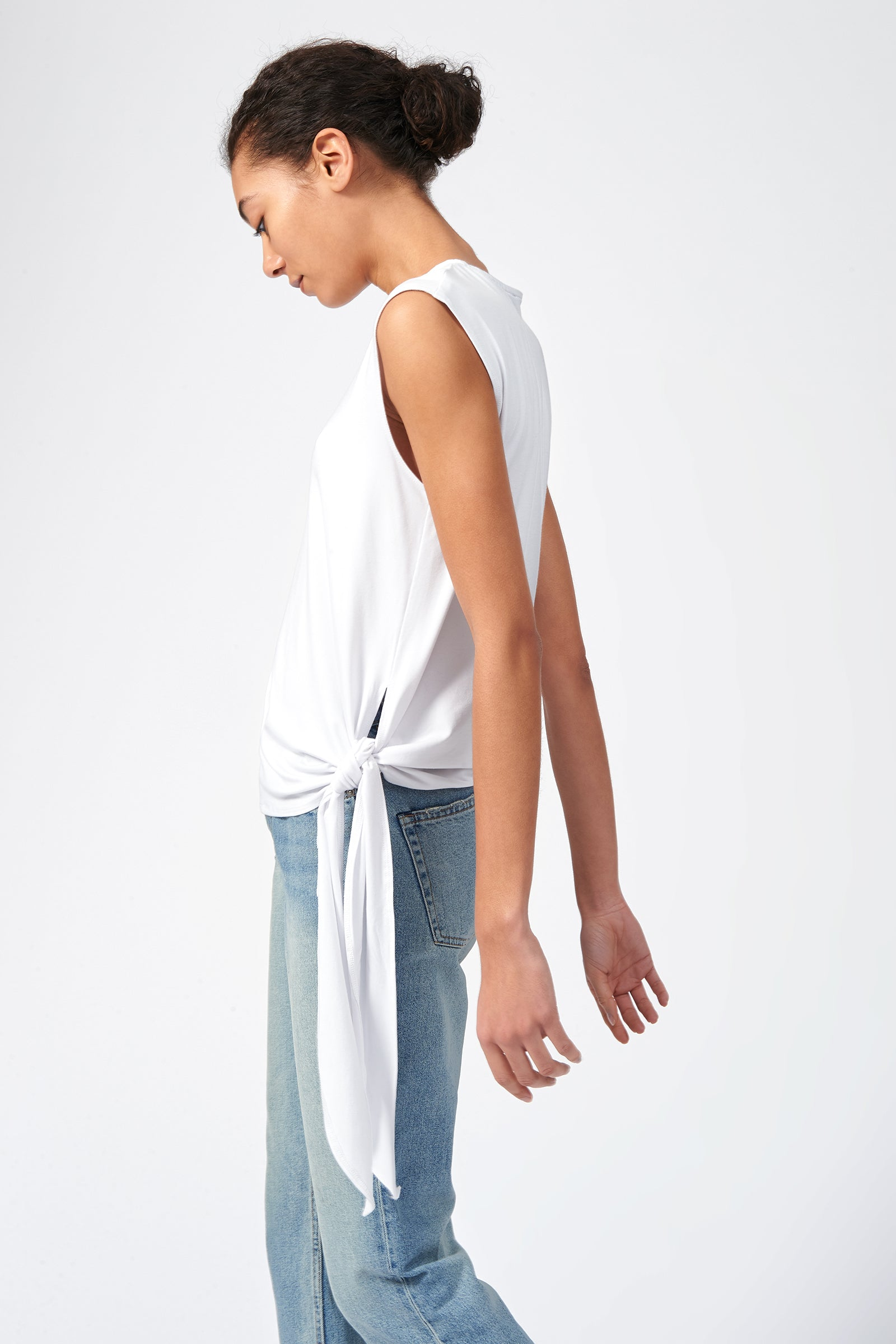 Kal Rieman Tip Hip Tank in White on Model Side View