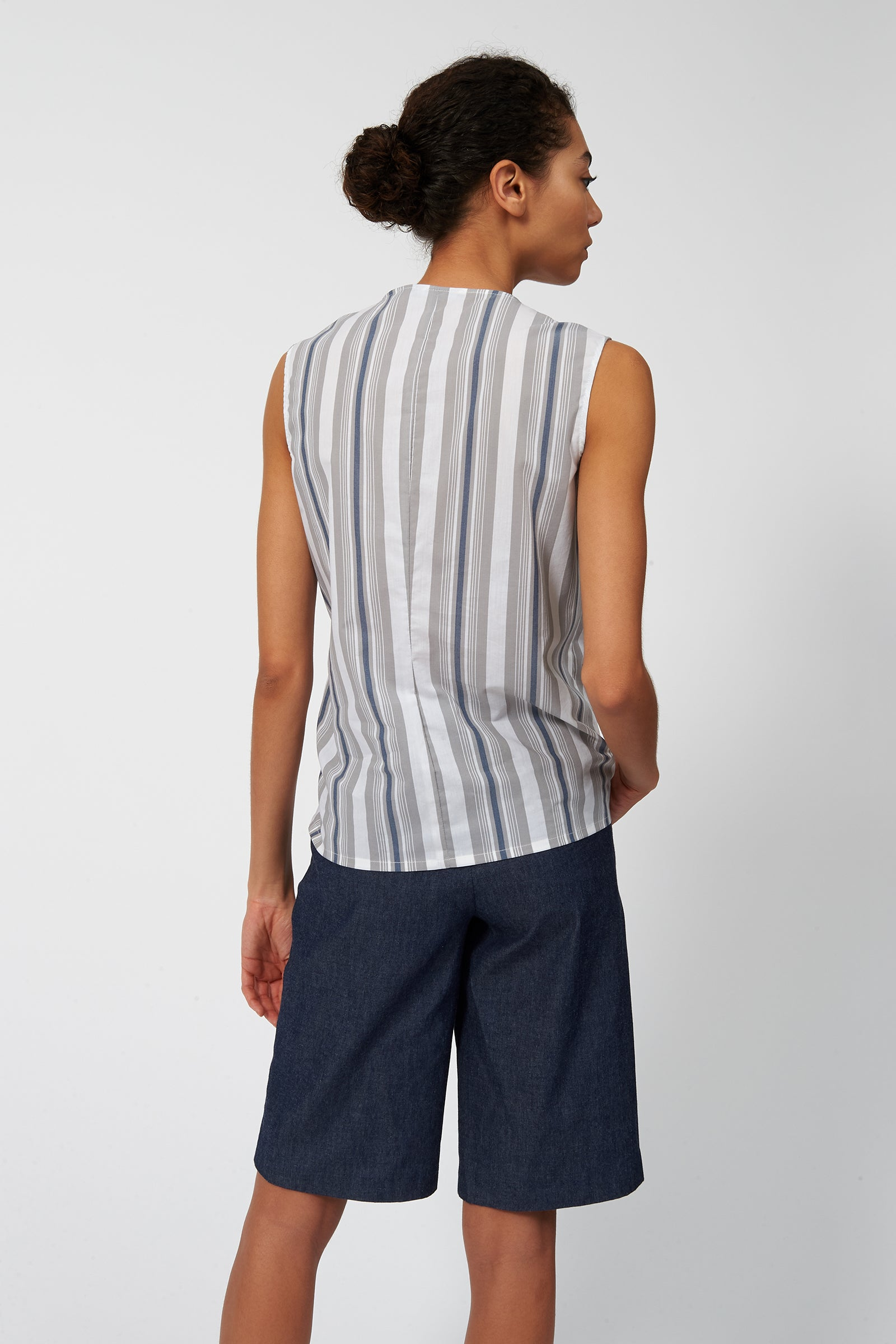 Kal Rieman Tie Hip Shell in Cotton Nylon Stripe on Model Back View