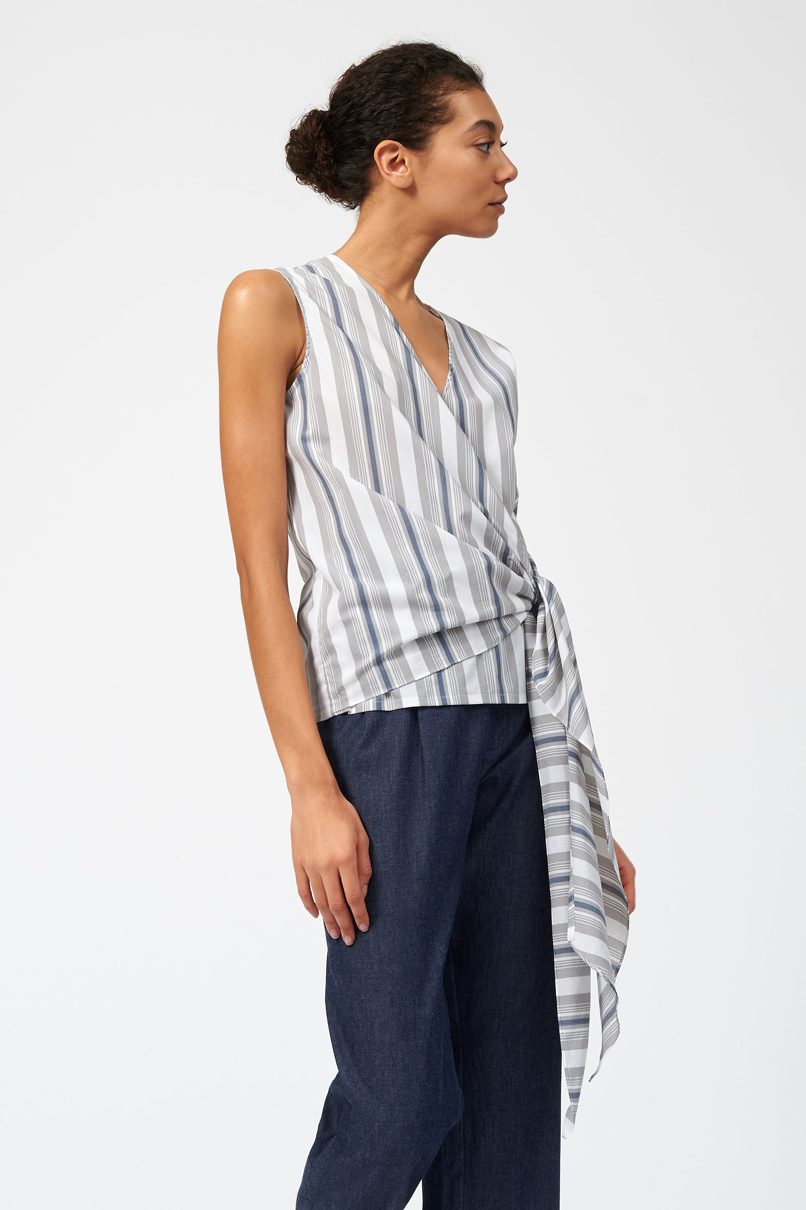 Kal Rieman Tie Hip Shell in Cotton Nylon Stripe on Model Side View