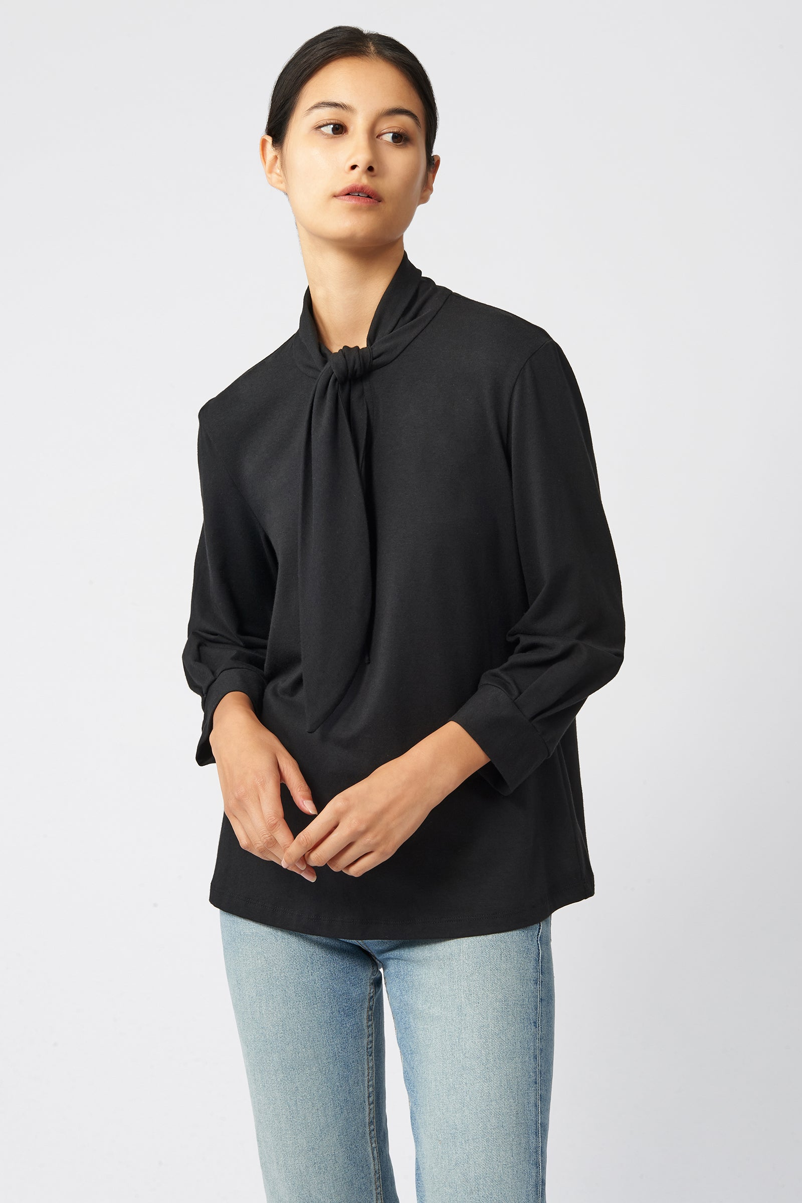 Kal Rieman Tie Neck Top in Black on Model Front View