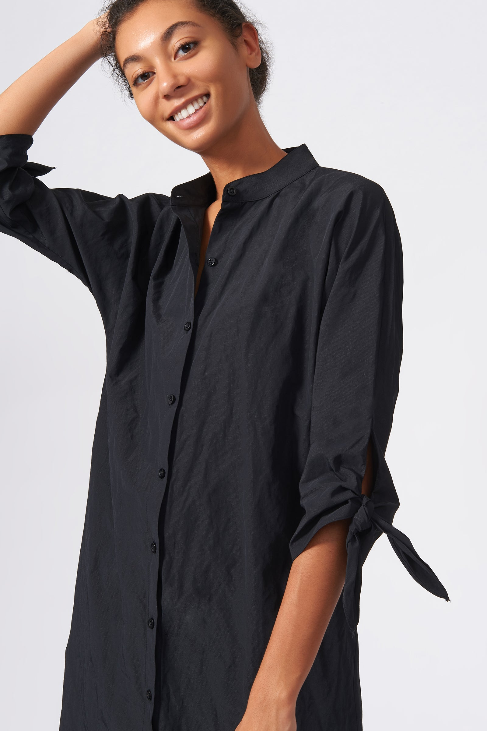 Kal Rieman Tie Sleeve Tunic in Black on Model Close-up View