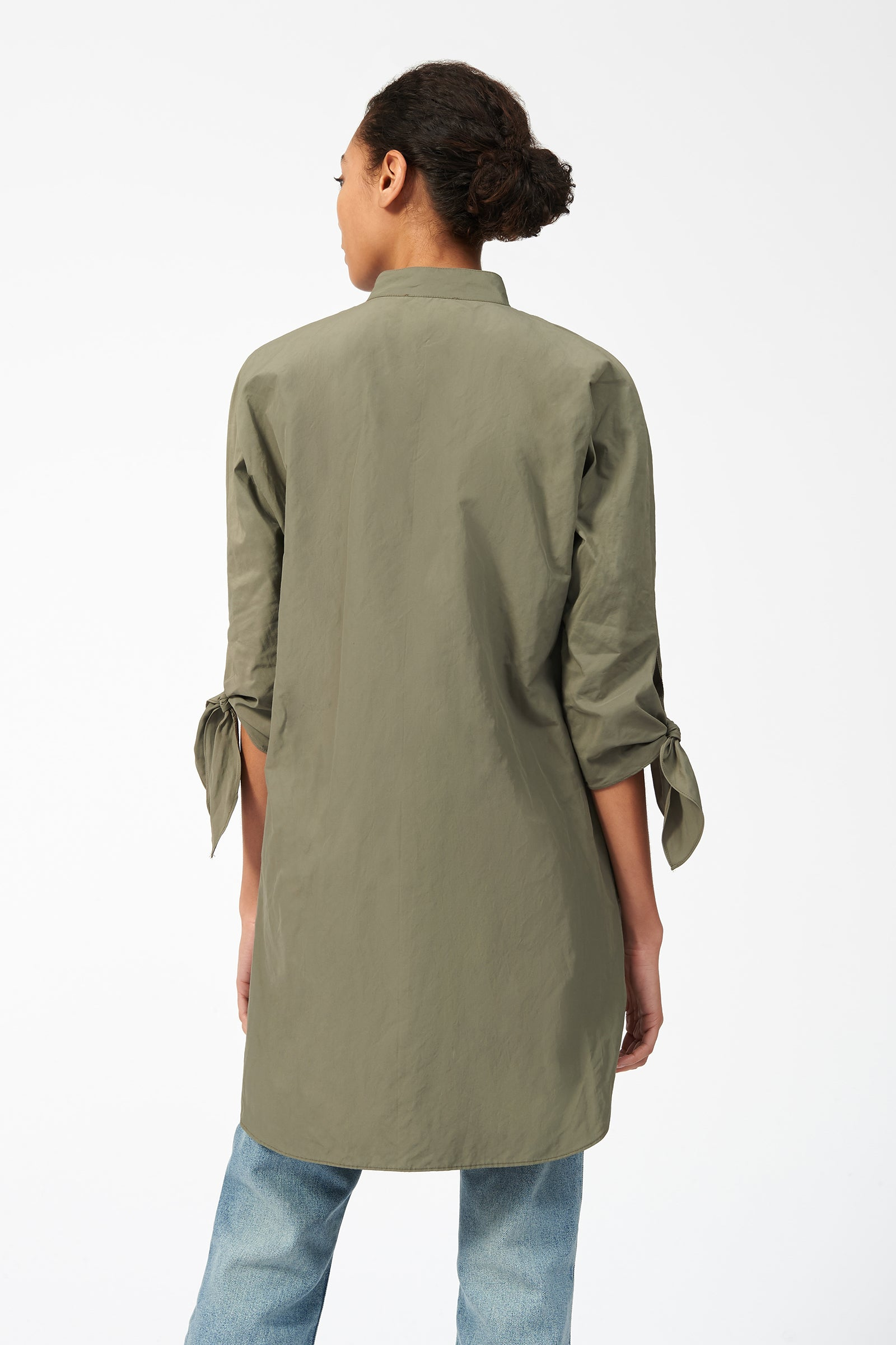 Kal Rieman Tie Sleeve Tunic in Olive on Model Front View