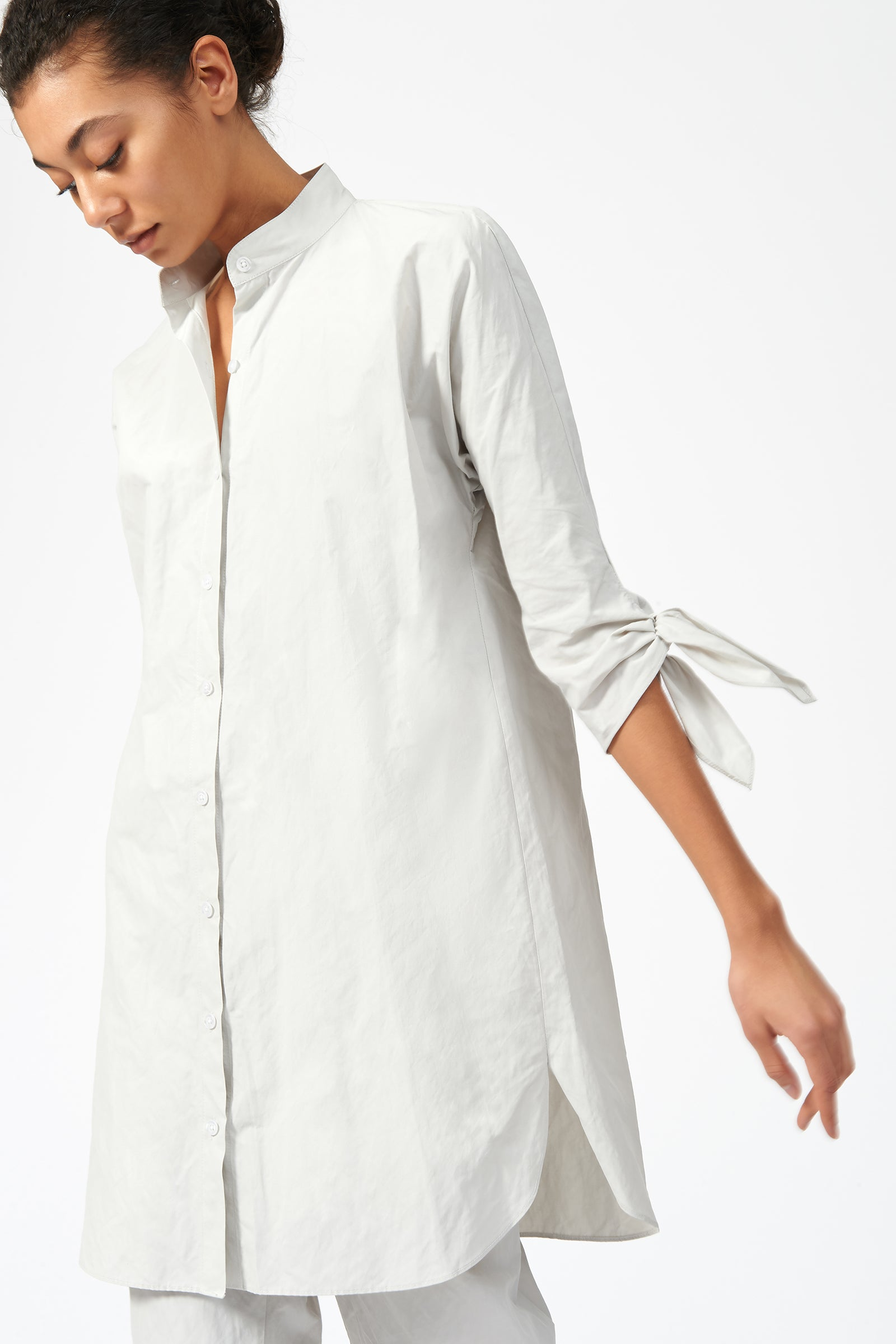Kal Rieman Tie Sleeve Tunic in Stone on Model Front Side View