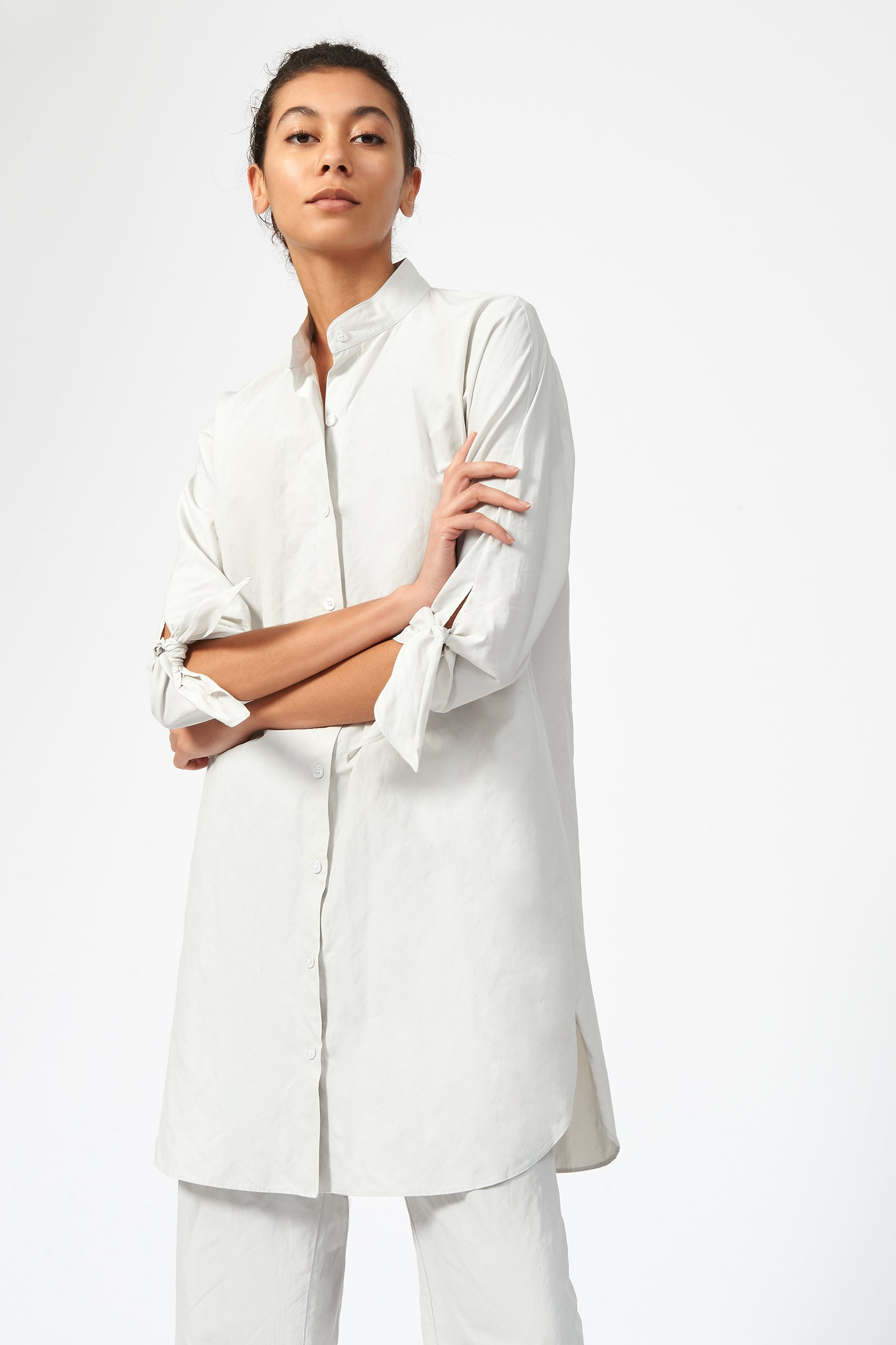Kal Rieman Tie Sleeve Tunic in Stone on Model Front View