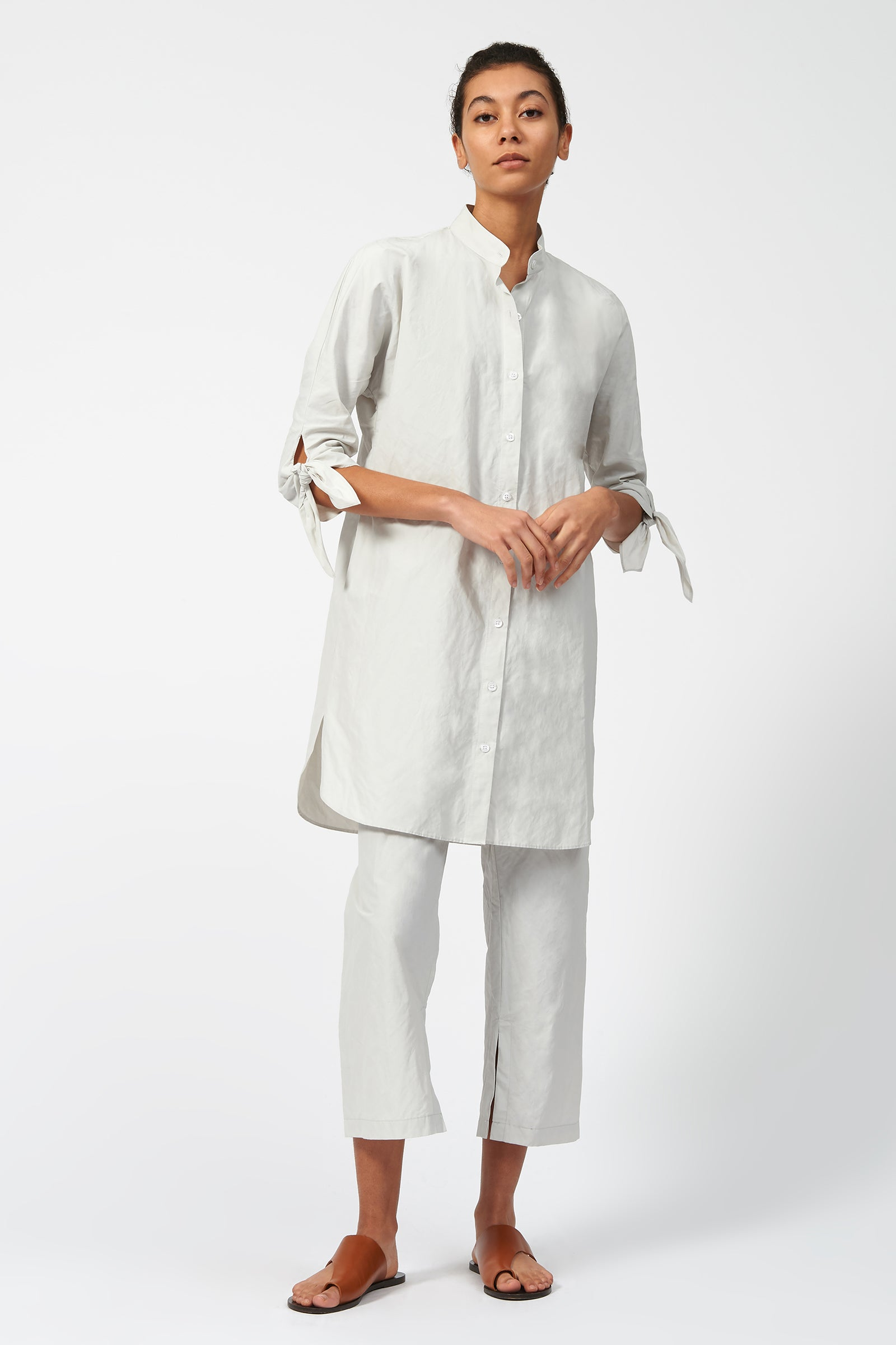 Kal Rieman Tie Sleeve Tunic in Stone on Model Full Front View