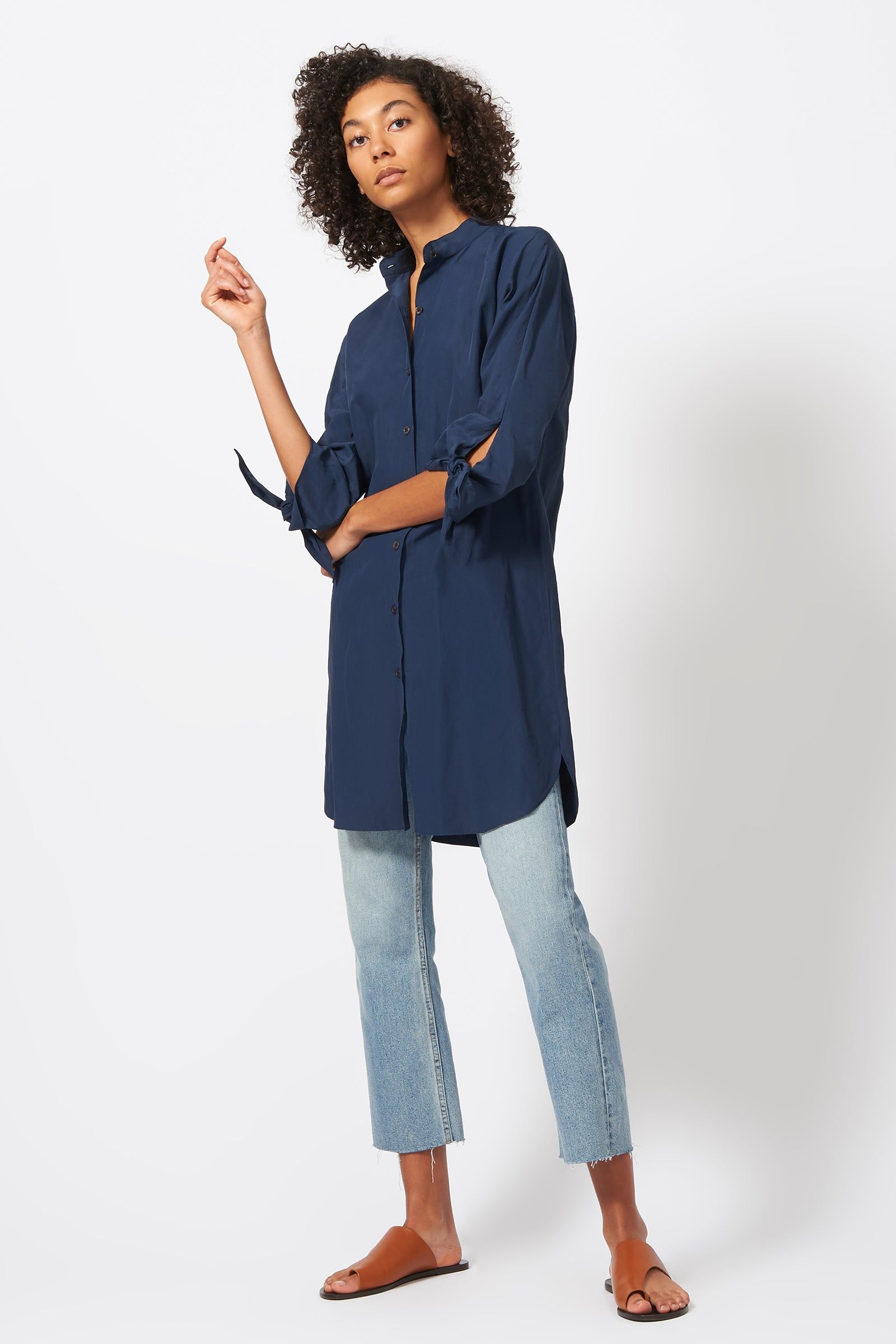 Kal Rieman Tie Sleeve Tunic in Navy on Model Full Front Side View