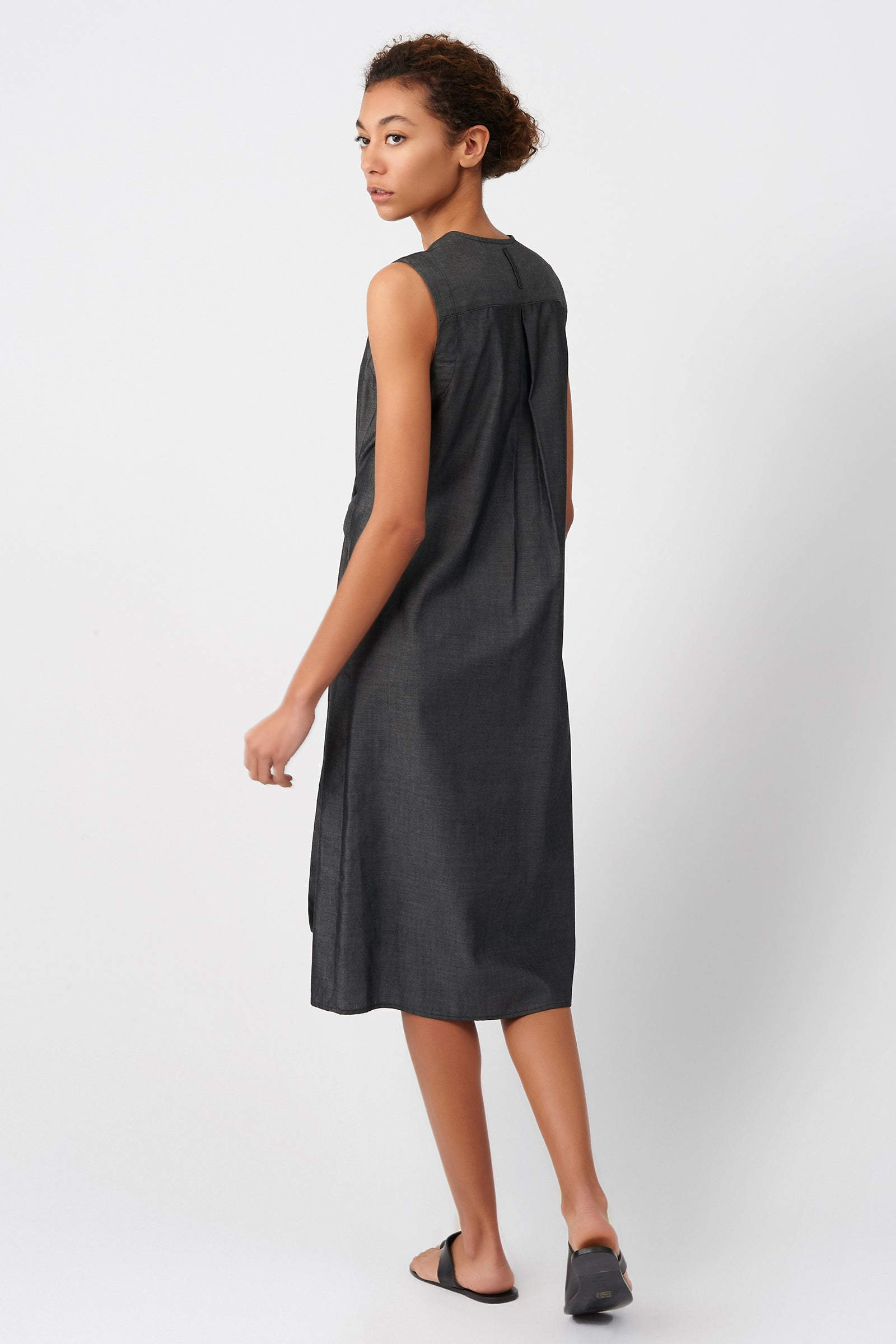 Kal Rieman Tie Waist Dress in Denim on Model Side View