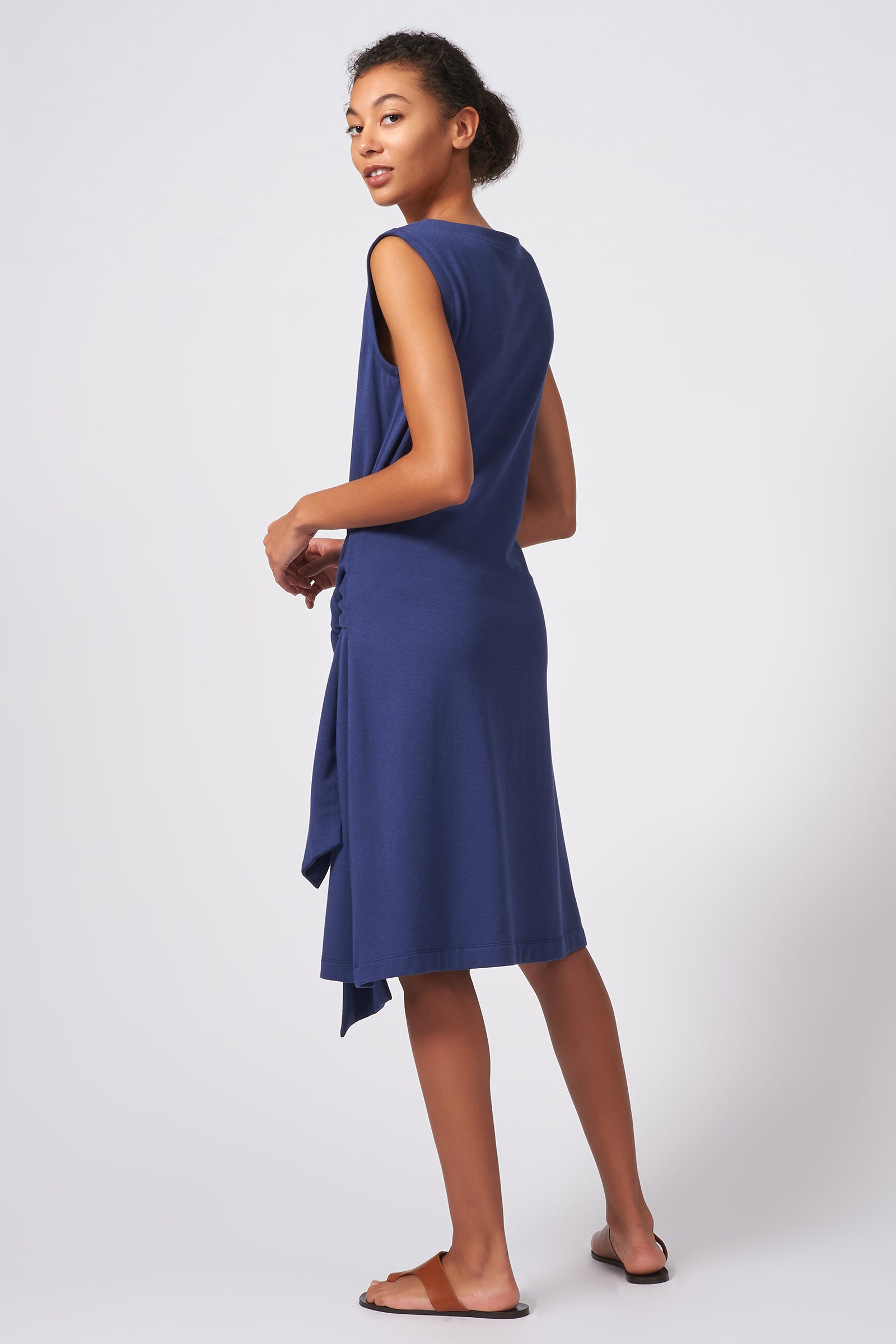 Kal Rieman Tie Waist Dress in Blue on Model Front View