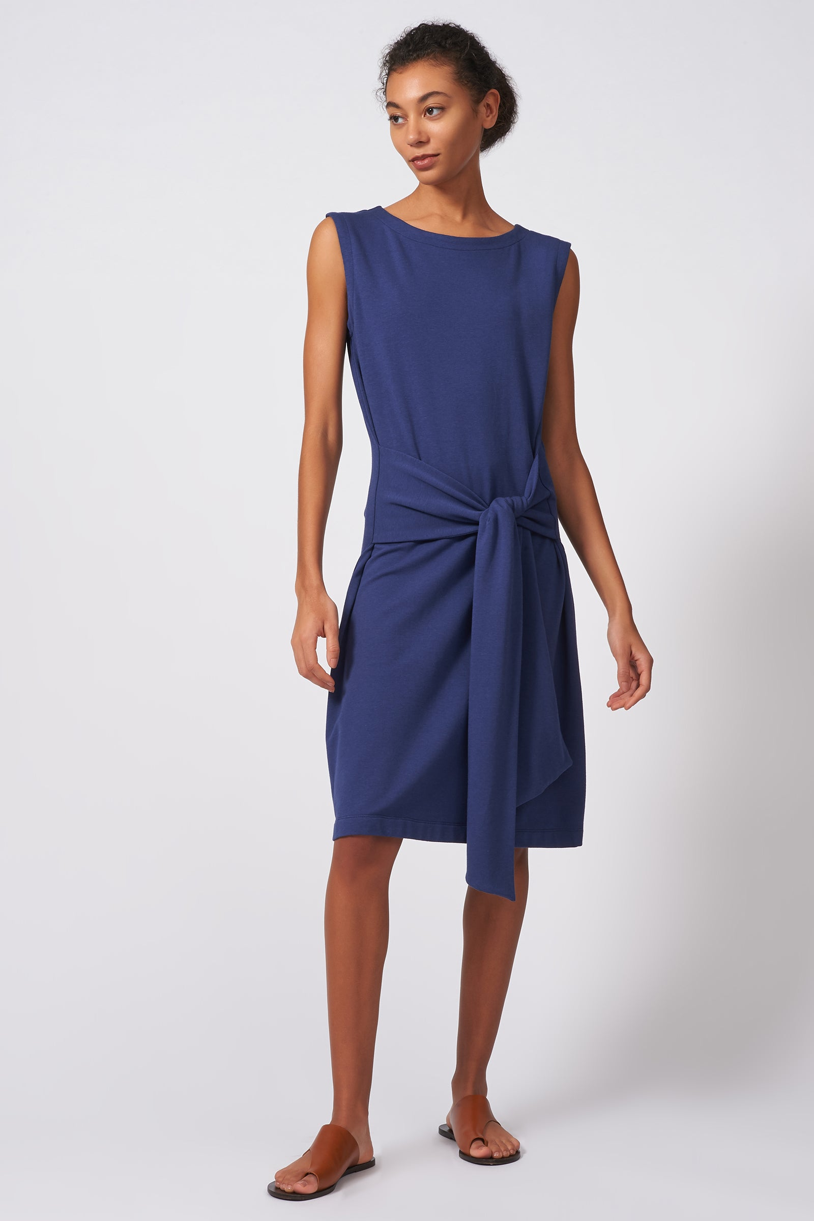 Kal Rieman Tie Waist Dress in Blue on Model Full Front View