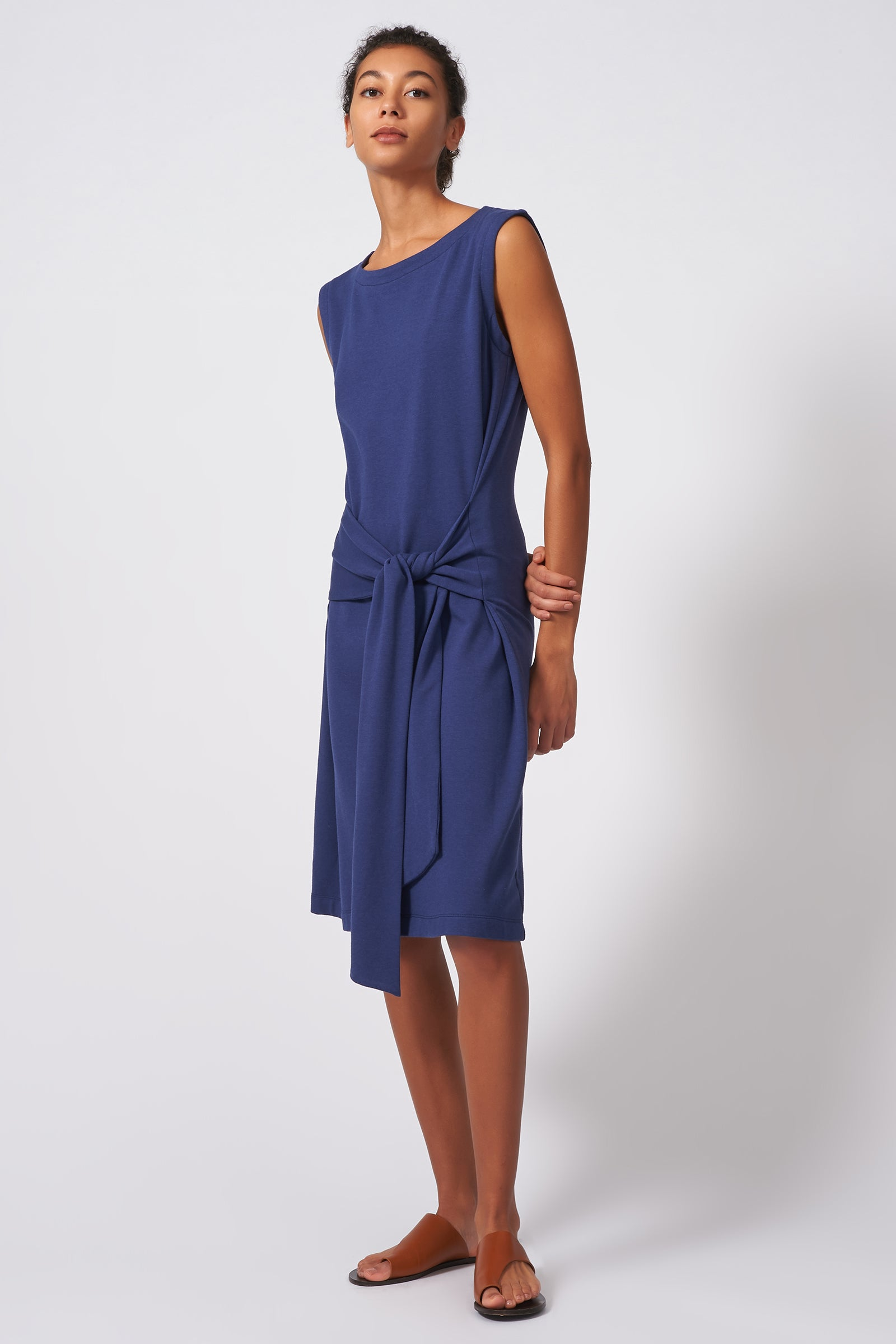 Kal Rieman Tie Waist Dress in Blue on Model Full Front Side View