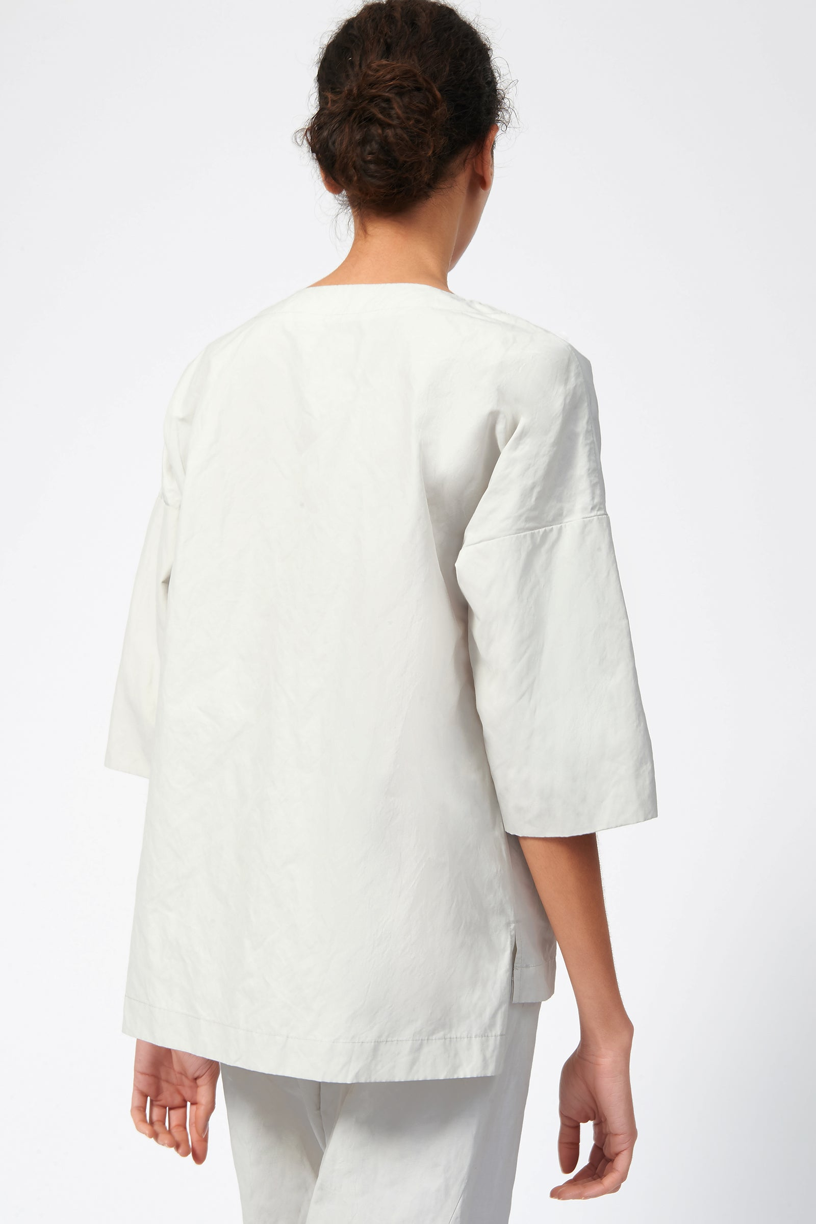 Kal Rieman V Placket Pullover in Stone on Model Front Side View
