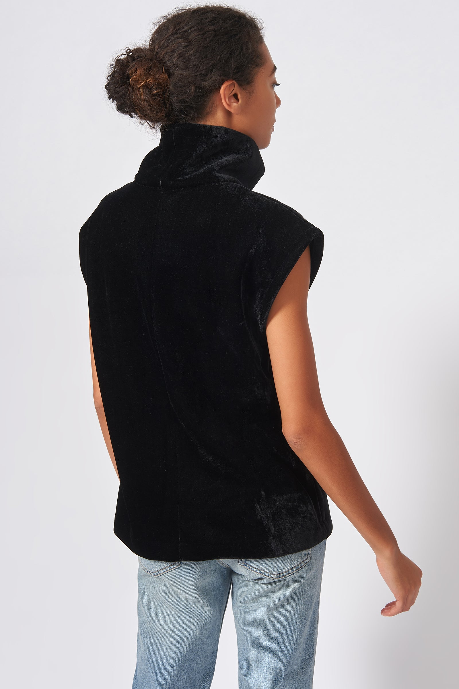 Kal Rieman Velvet Seam Turtleneck in Black on Model Front View