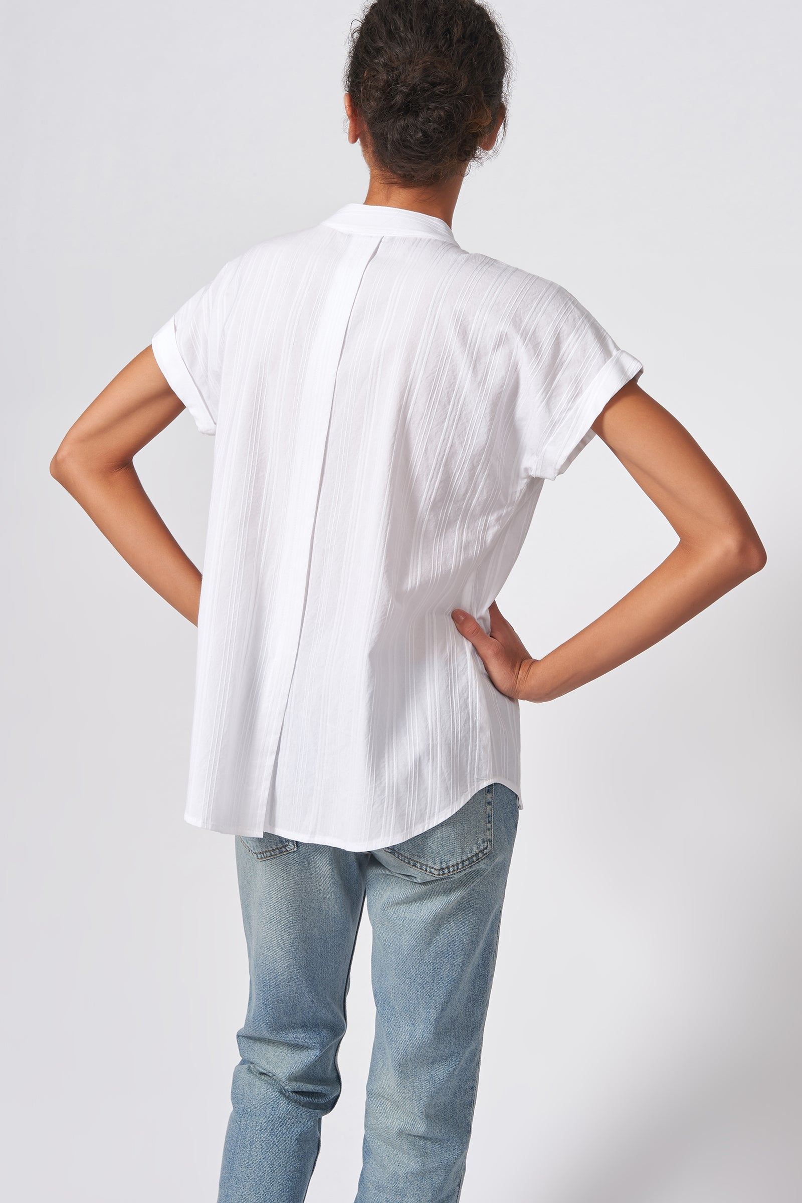 Kal Rieman Vent Back Collar Shirt in White Stripe on Model Back View