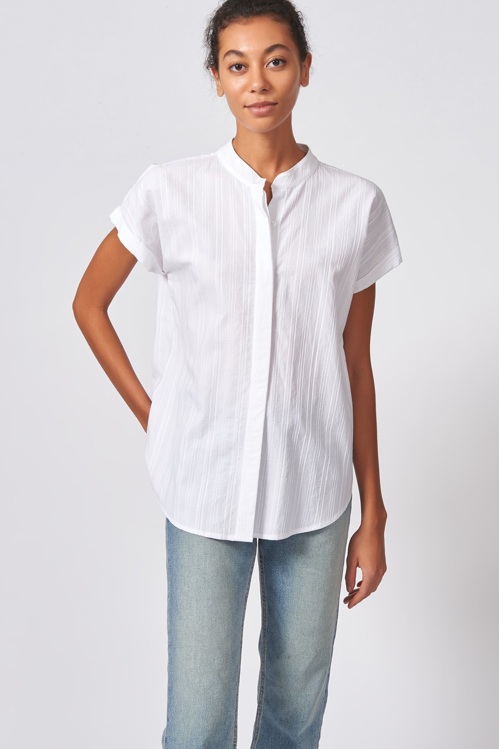 Kal Rieman Vent Back Collar Shirt in White Stripe on Model Front View