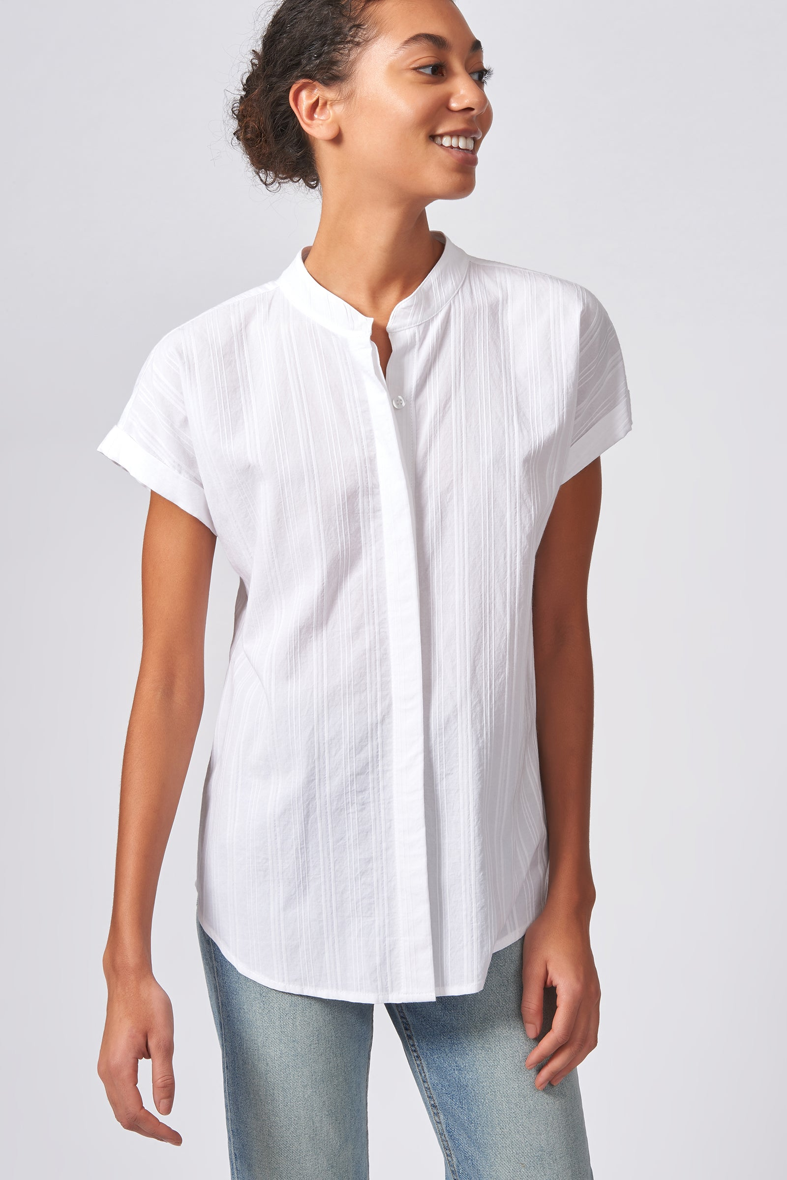 Kal Rieman Vent Back Collar Shirt in White Stripe on Model Front Side View
