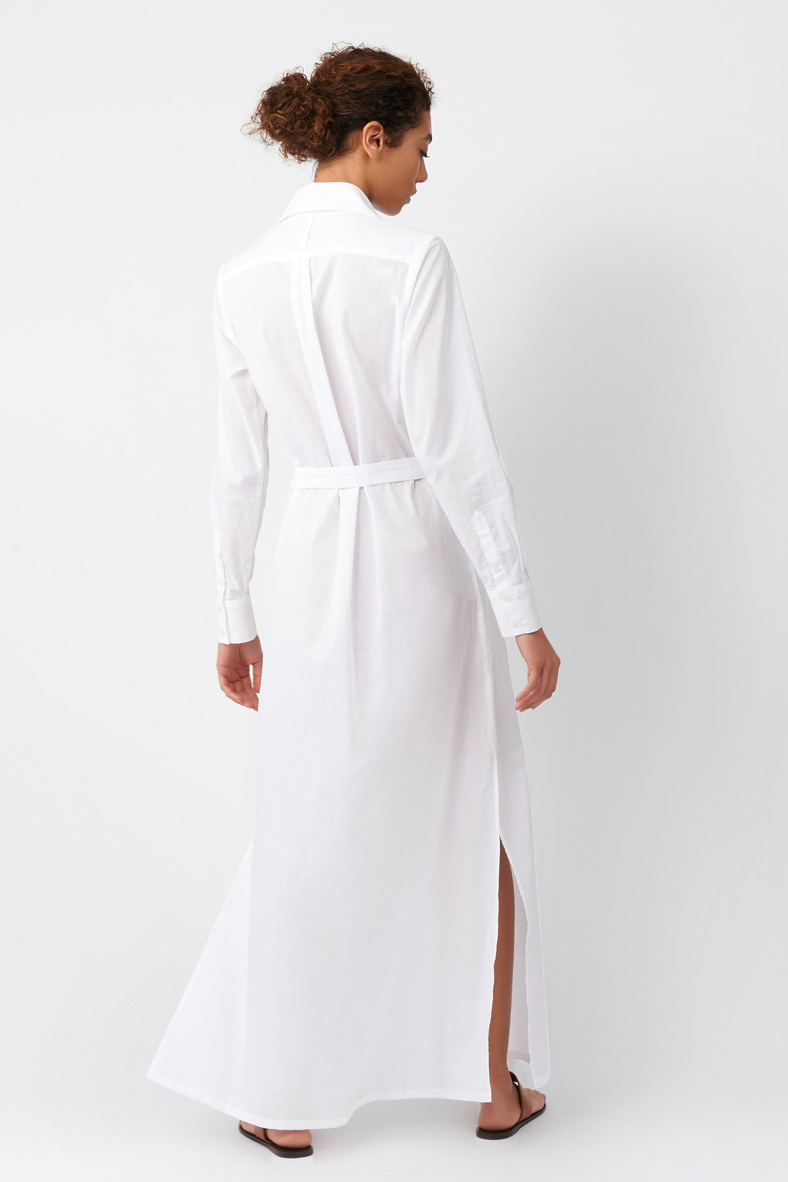 Kal Rieman Voile Maxi Shirt Dress in White on Model Full Back View