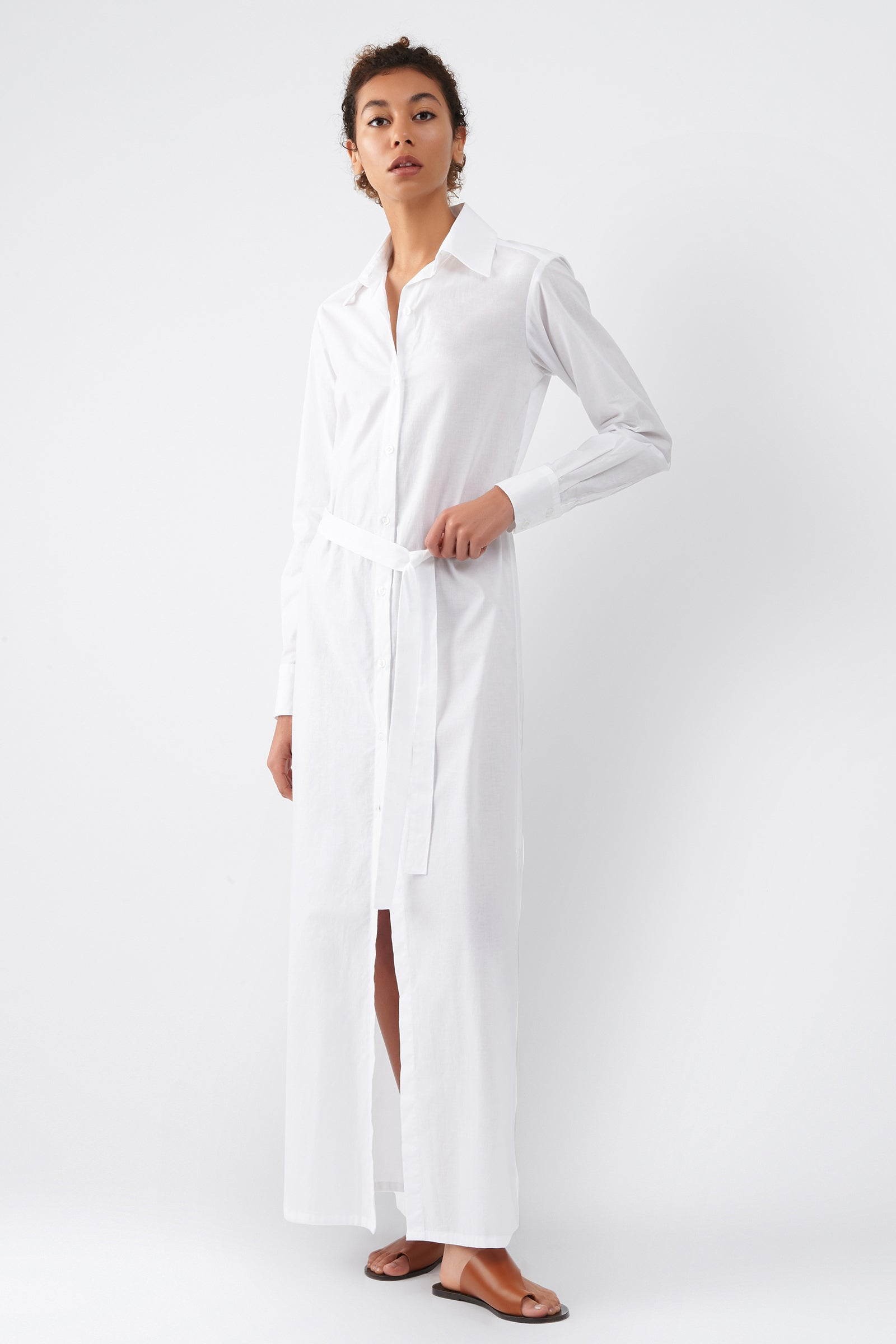 Kal Rieman Voile Maxi Shirt Dress in White on Model Full Front View