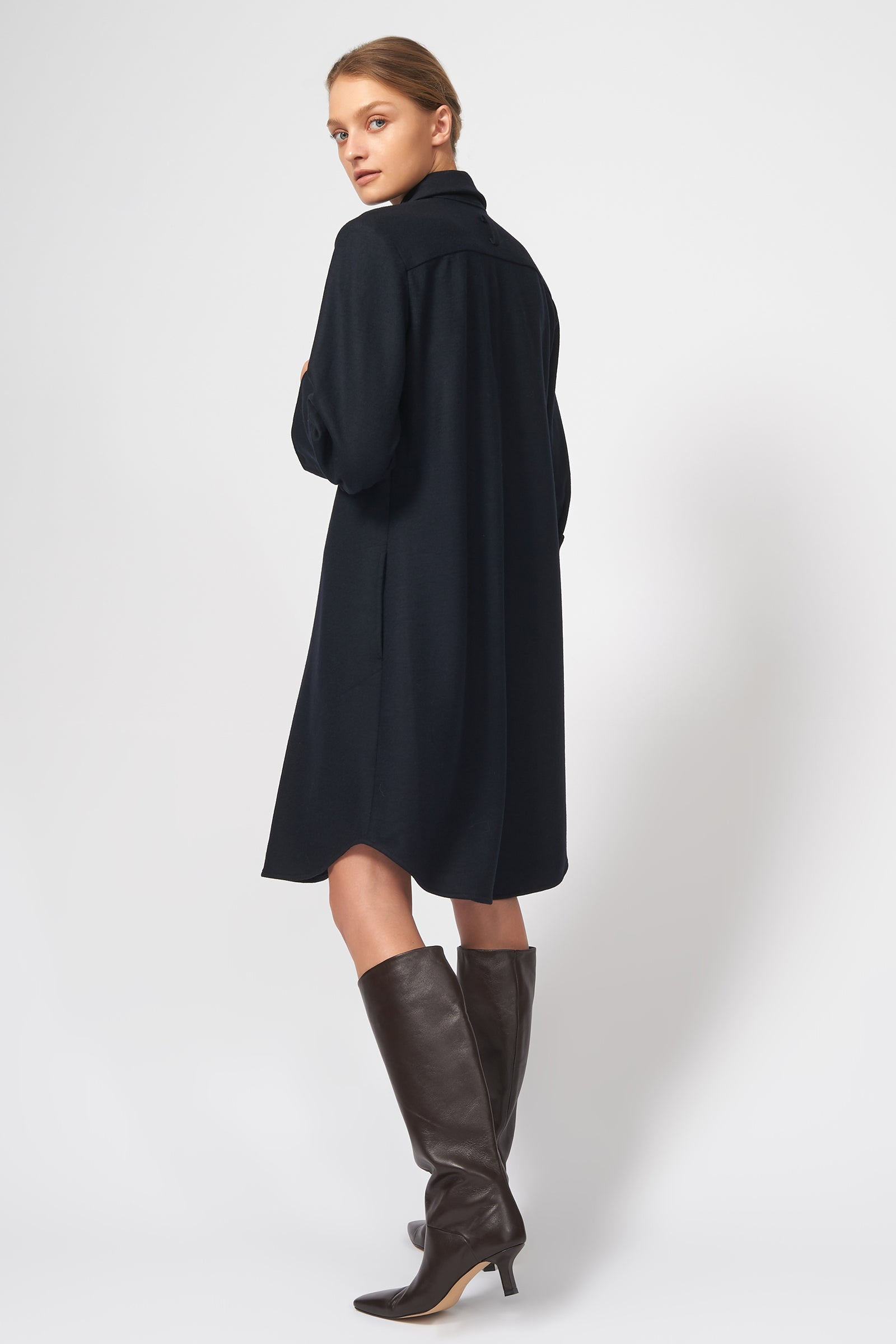 Kal Rieman Wide Cuff Shirt Dress in Midnight on Model Full Front View