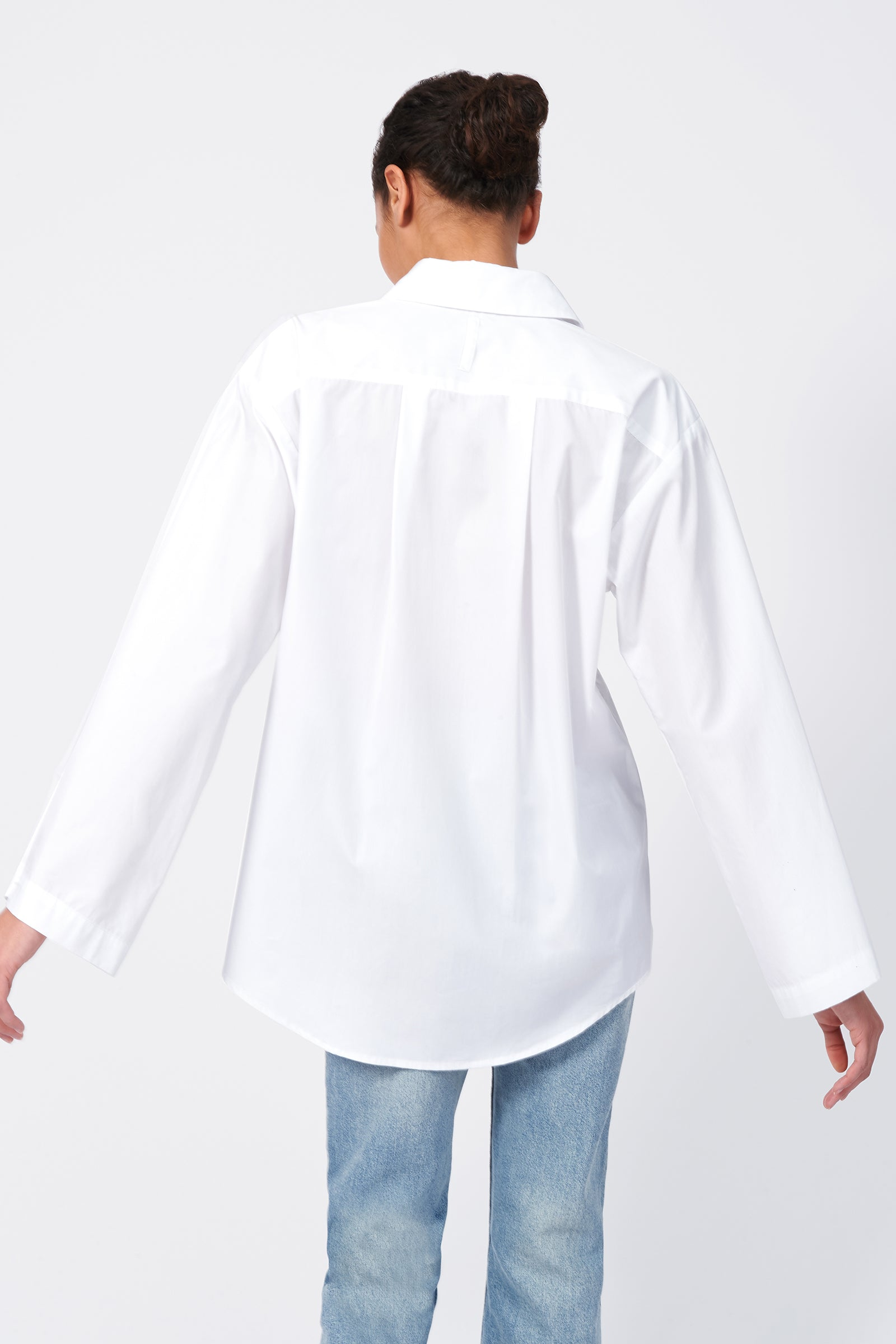 Kal Rieman Wide Sleeve Shirt in White Poplin on Model Front View