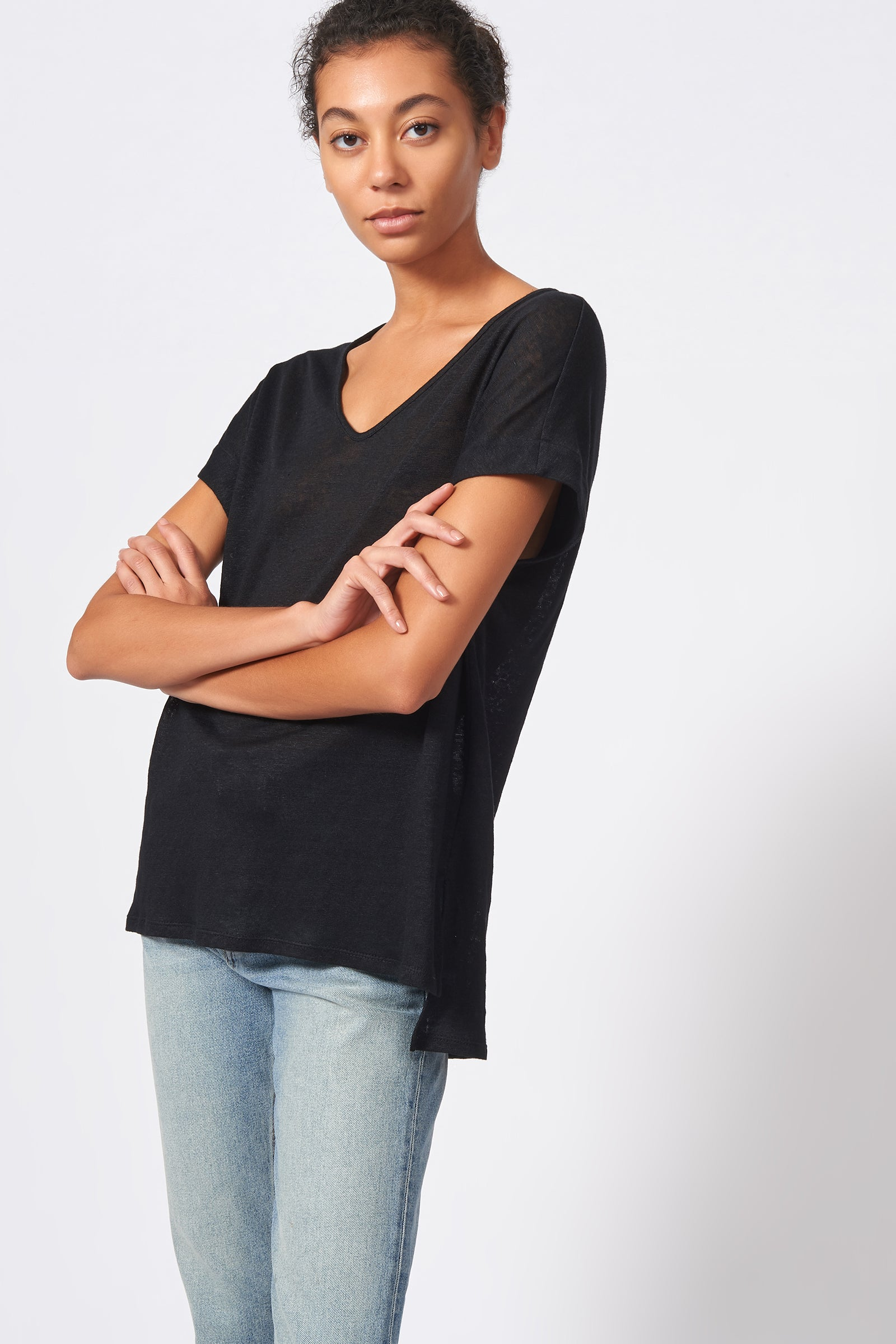 Kal Rieman Wide V Neck Tee in Black on Model Front View