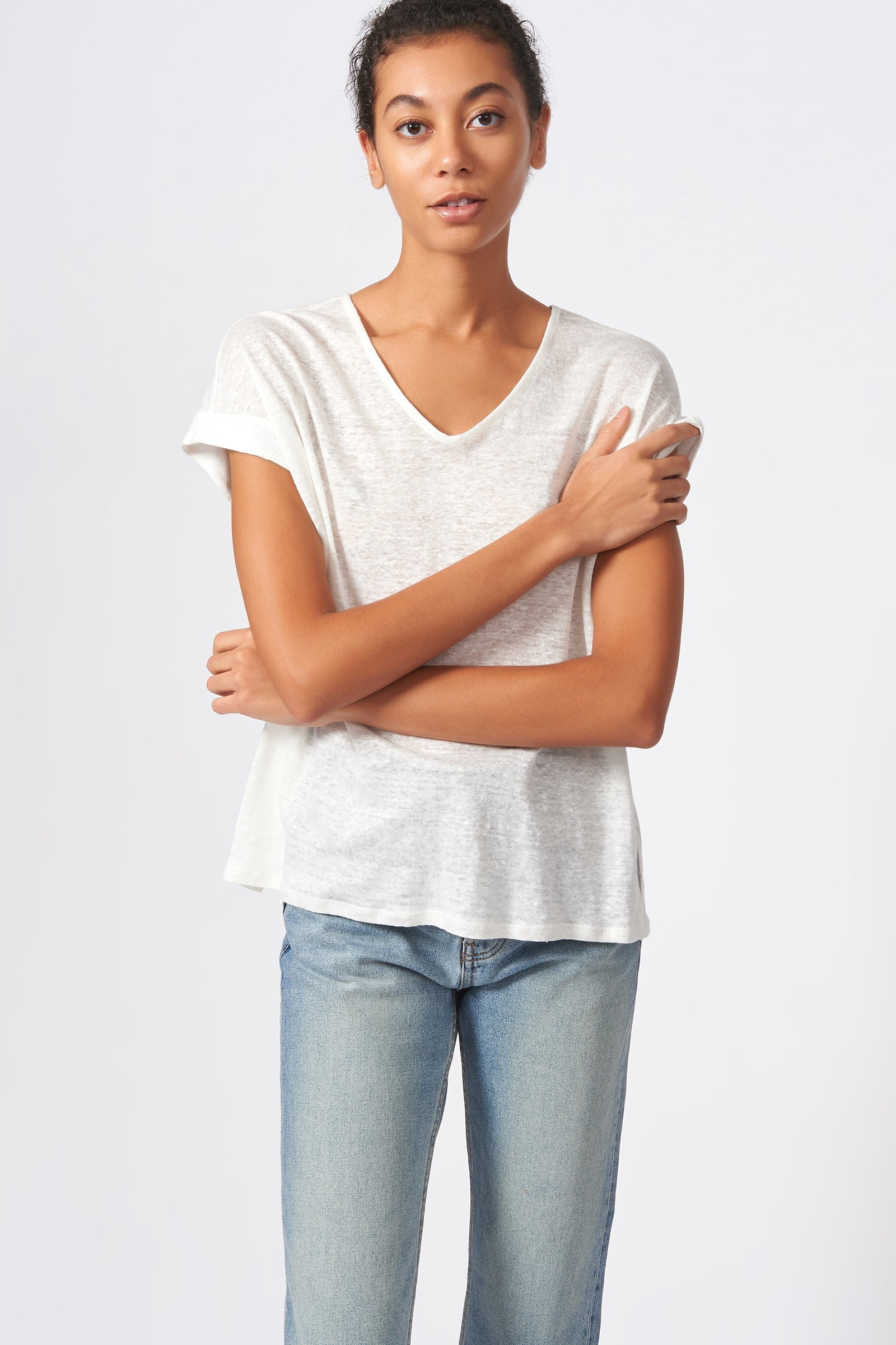 Kal Rieman Wide V Neck Tee in Natural on Model Front View
