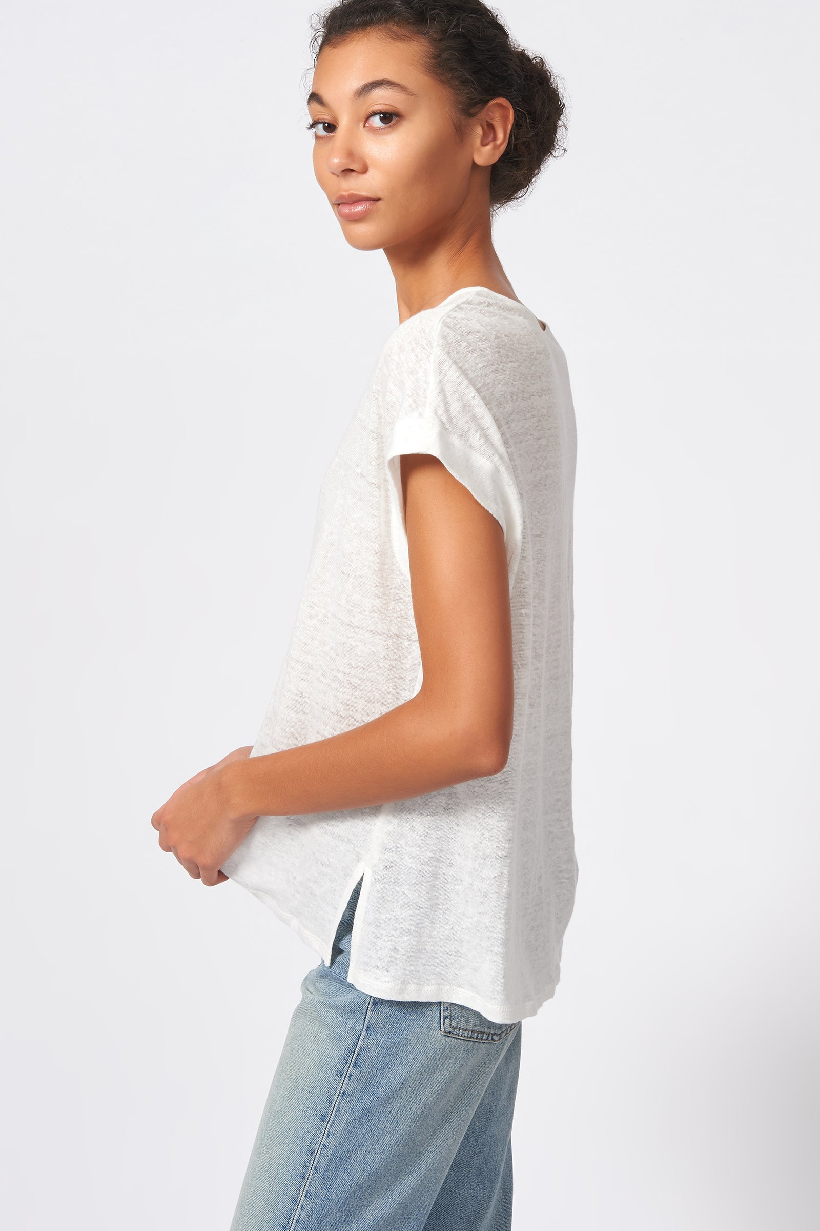 Kal Rieman Wide V Neck Tee in Natural on Model Side View