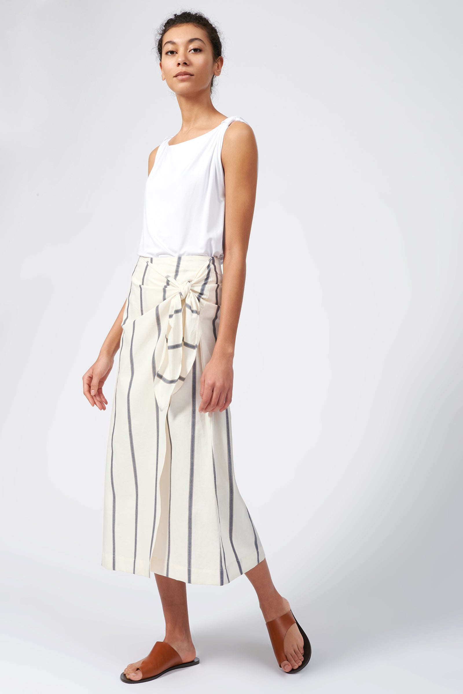 Kal Rieman Wrap Skirt in Organic Stripe on Model Full Front Side View