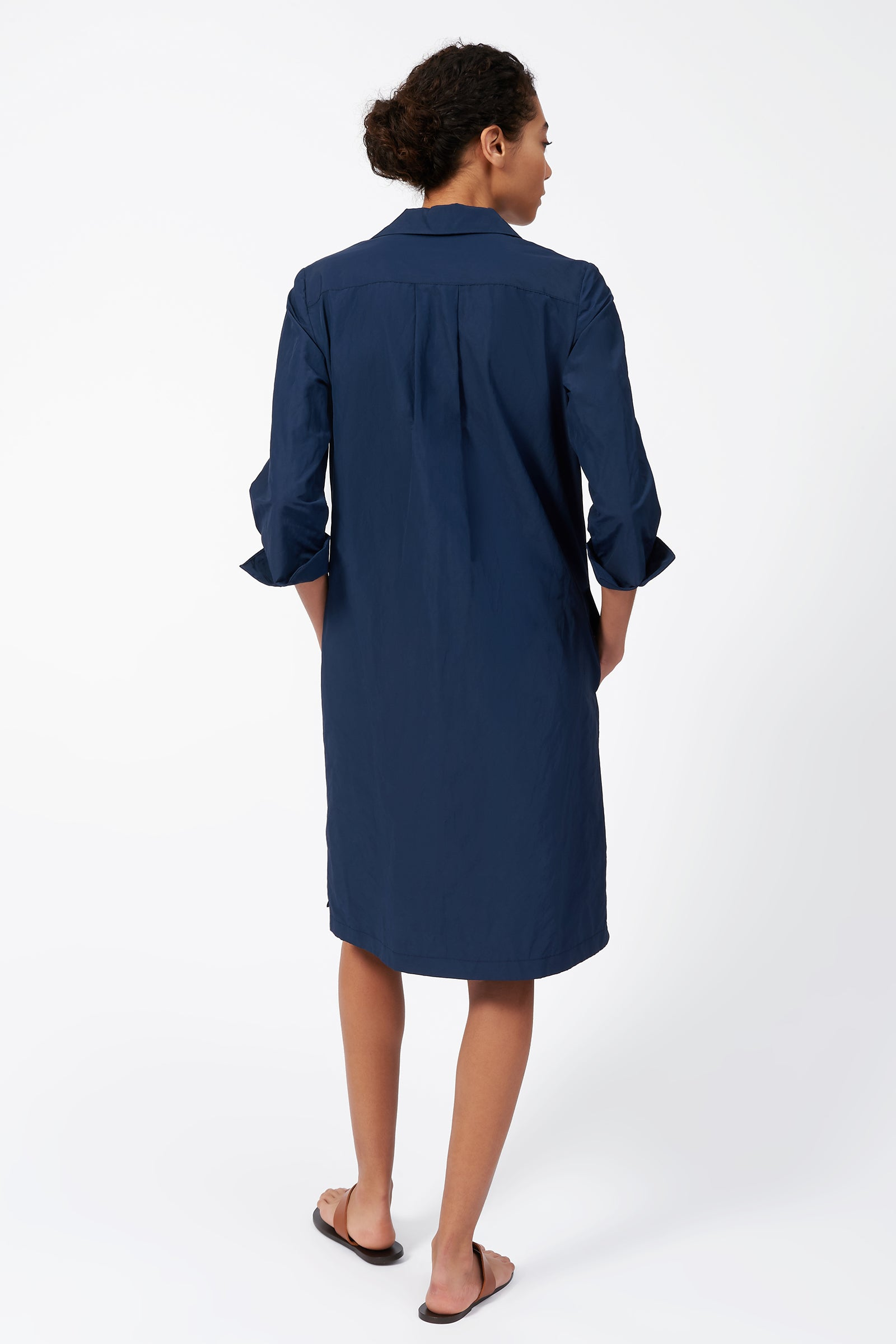 Kal Rieman Collared V Neck Dress in Navy on Model Full Back View