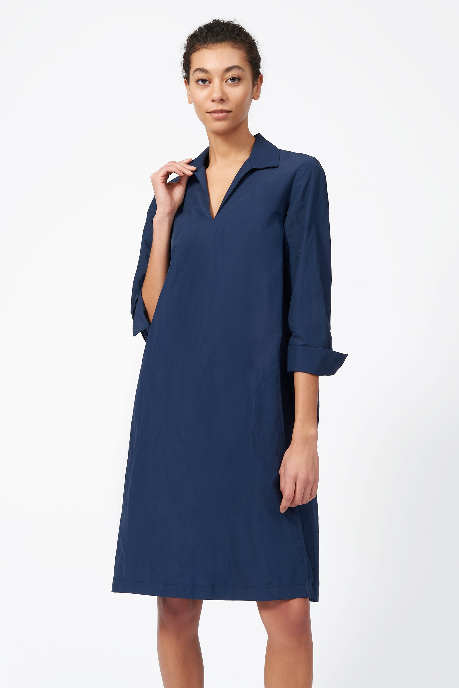 Kal Rieman Collared V Neck Dress in Navy on Model Full Front Side View
