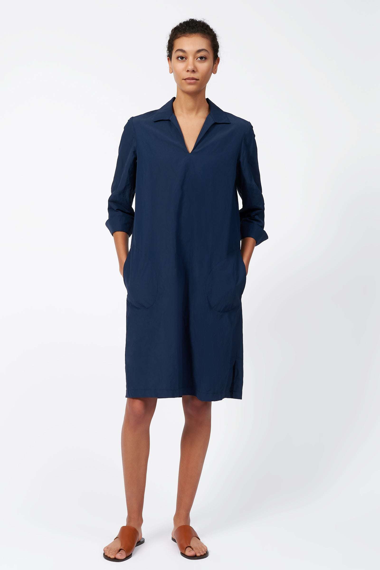 Kal Rieman Collared V Neck Dress in Navy on Model Full Front View