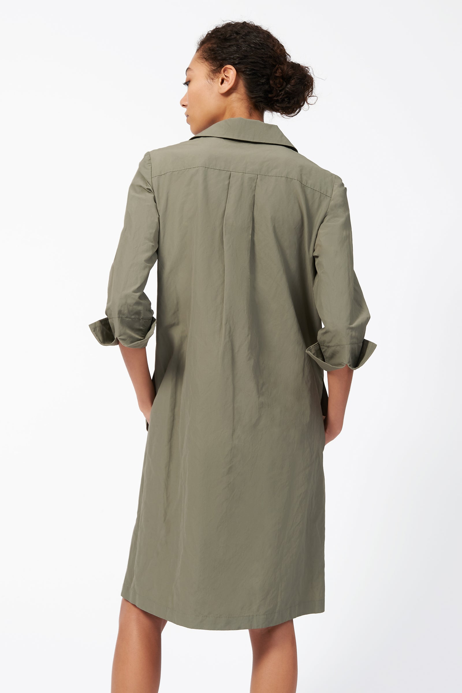 Kal Rieman Collared V Neck Dress in Olive on Model Back View