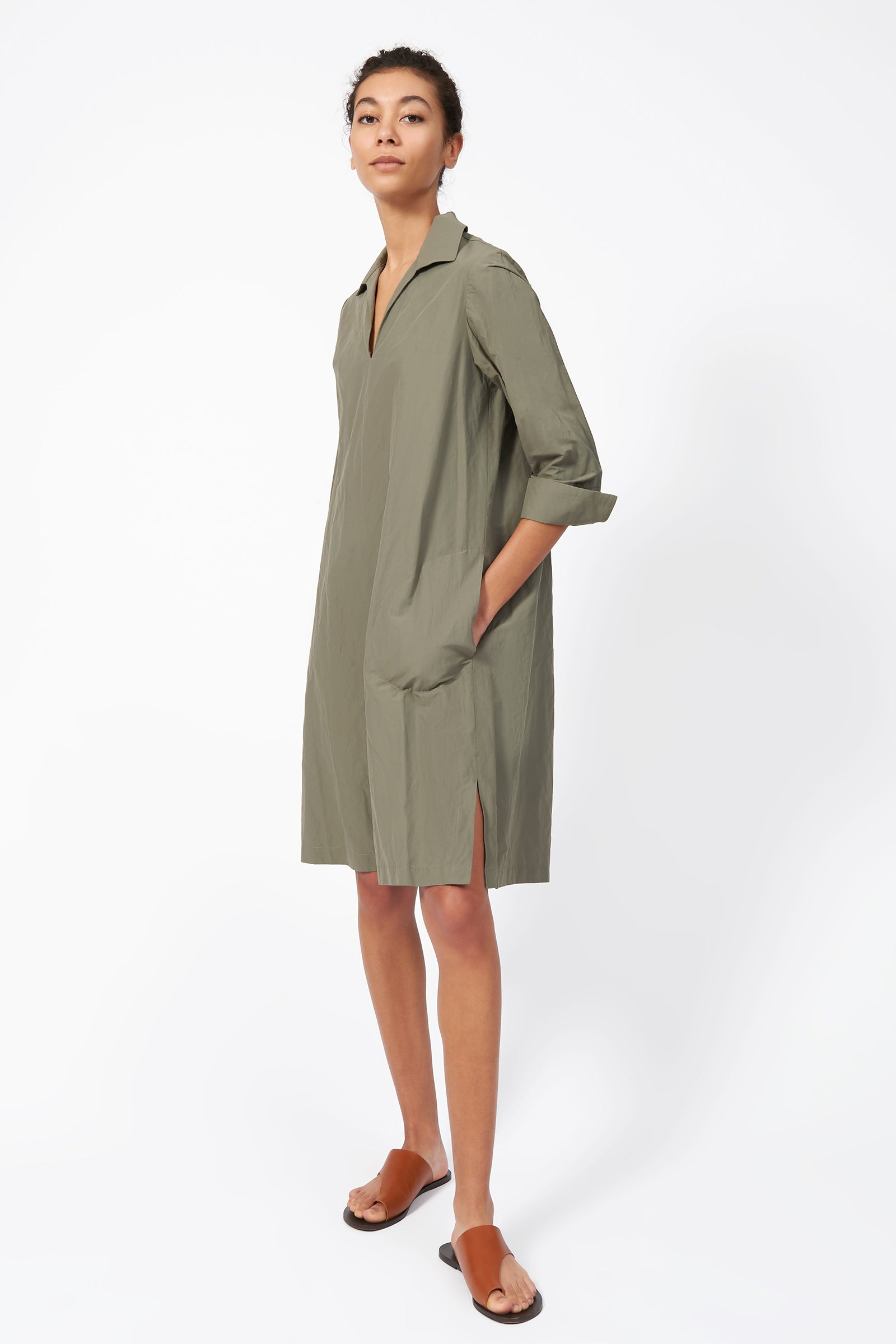 Kal Rieman Collared V Neck Dress in Olive on Model Front Side View