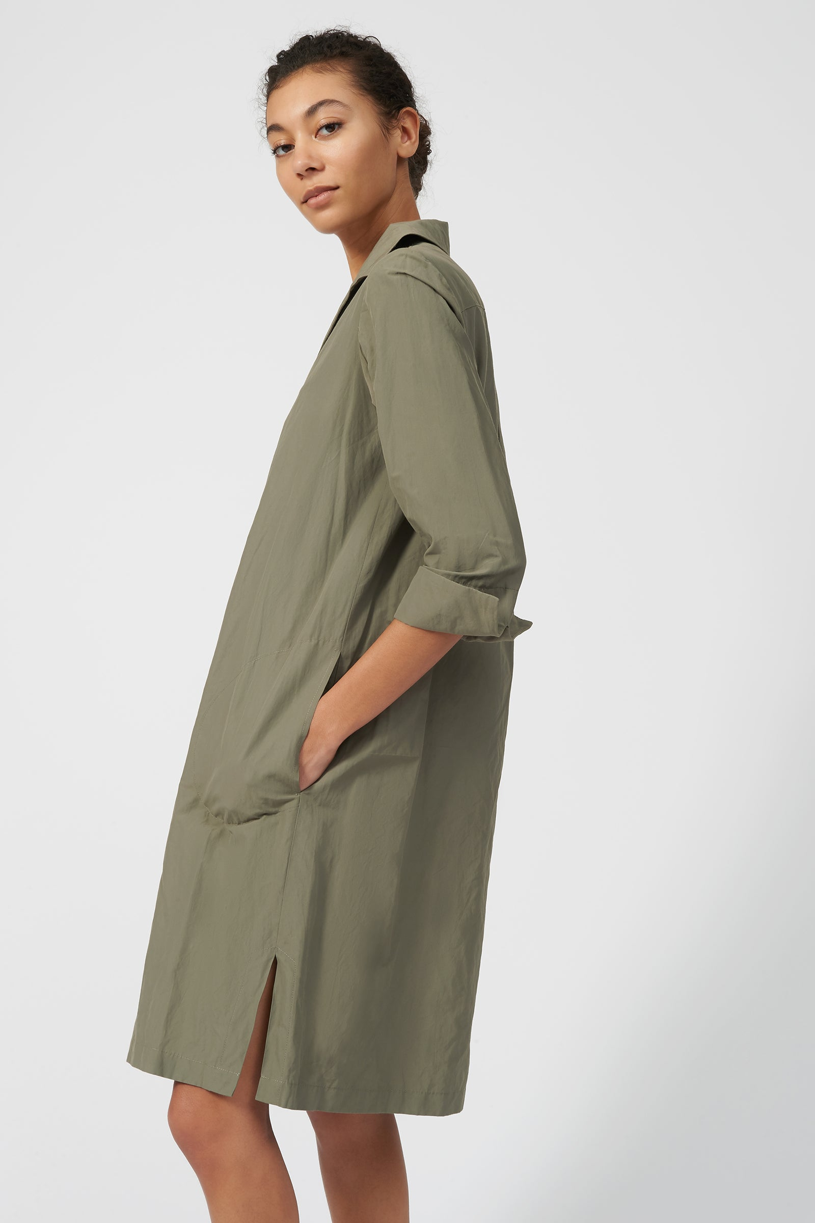 Kal Rieman Collared V Neck Dress in Olive on Model Front View