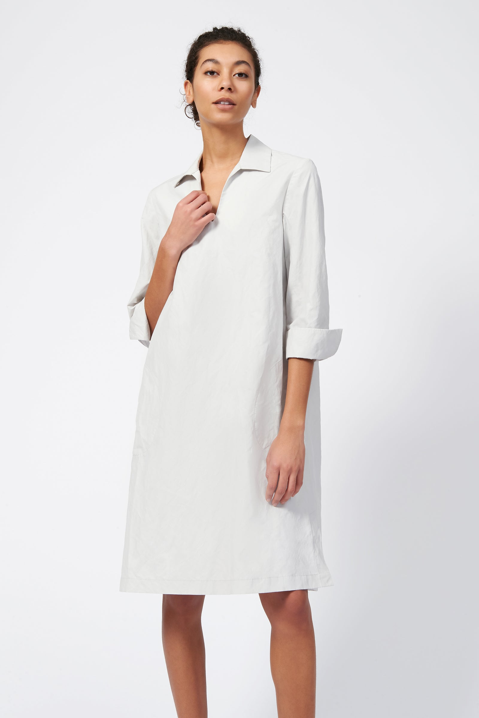 Collared V Neck Dress - Stone