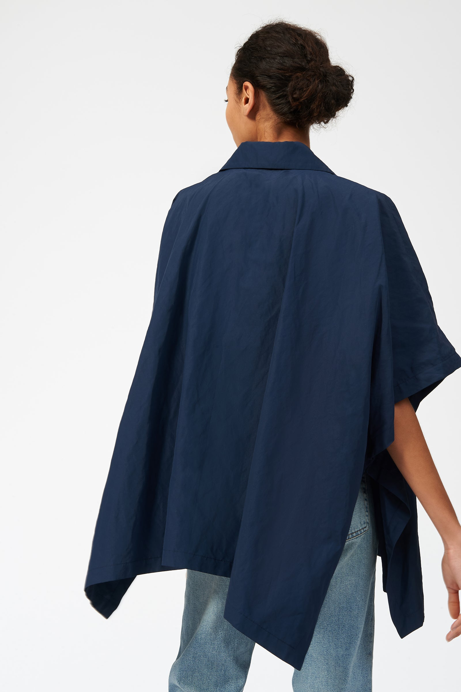 Kal Rieman Cotton Nylon Anorak in Navy on Model Back View