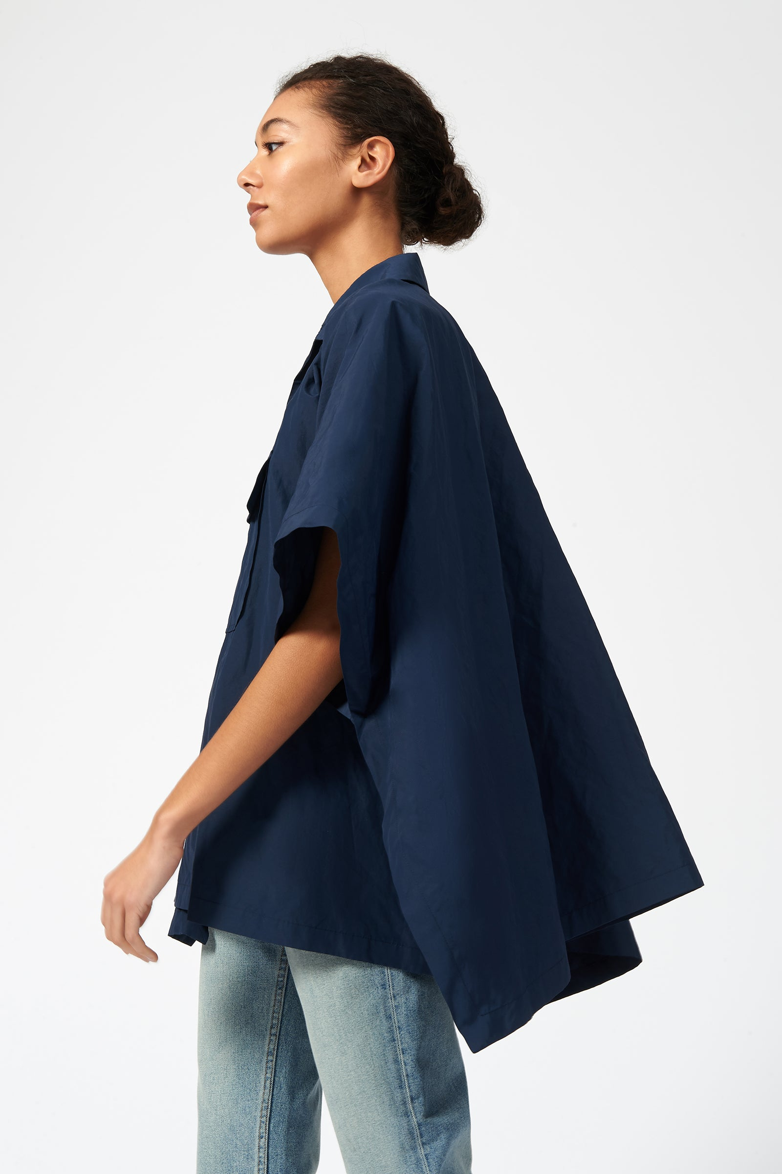 Kal Rieman Cotton Nylon Anorak in Navy on Model Side View