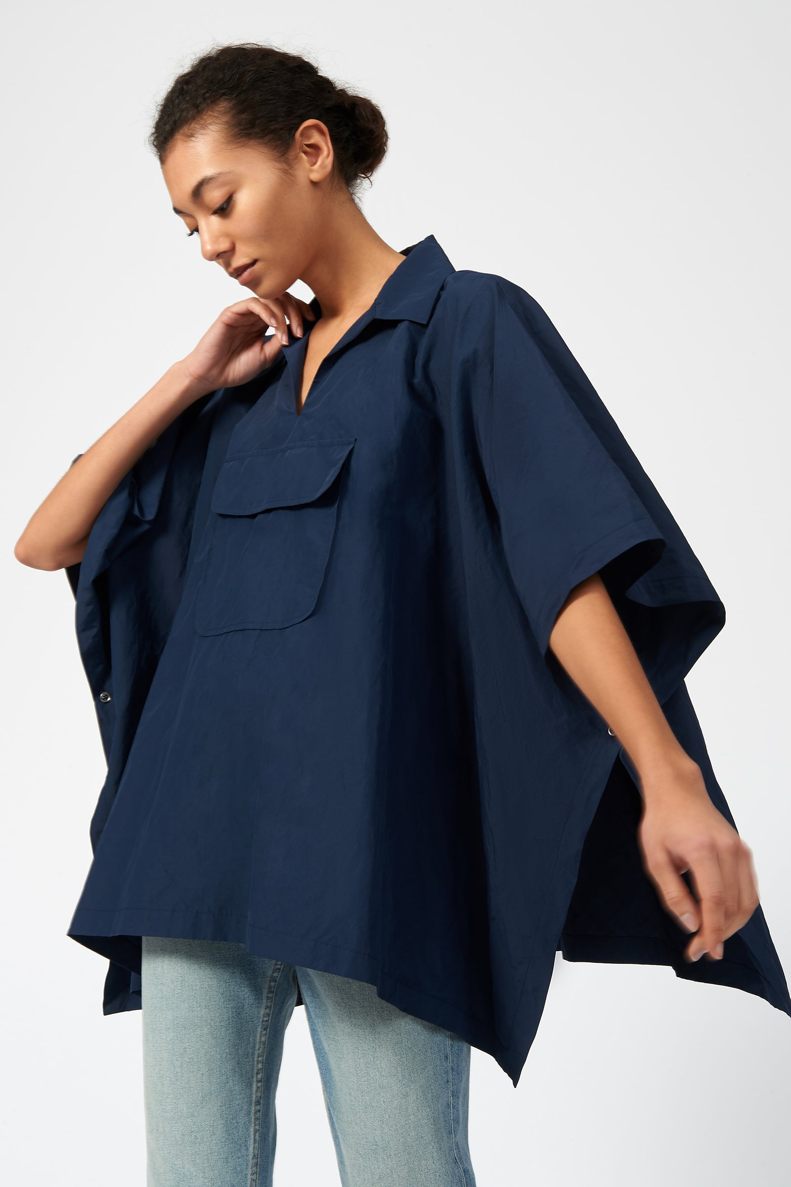 Kal Rieman Cotton Nylon Anorak in Navy on Model Front Side View