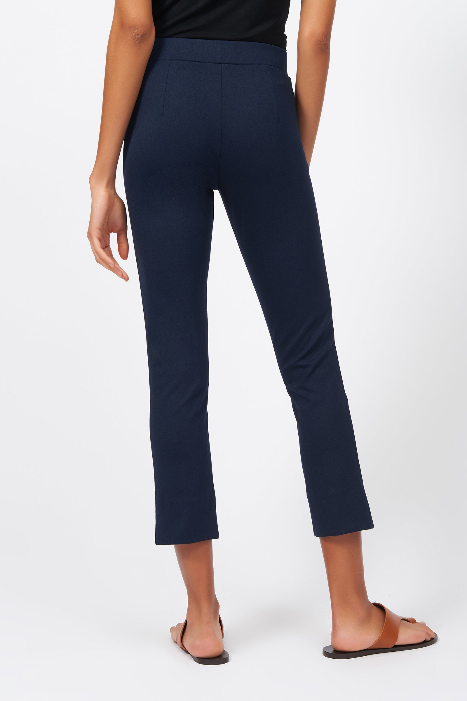 Kal Rieman Pintuck Slit Capri in Navy on Model Full Front View