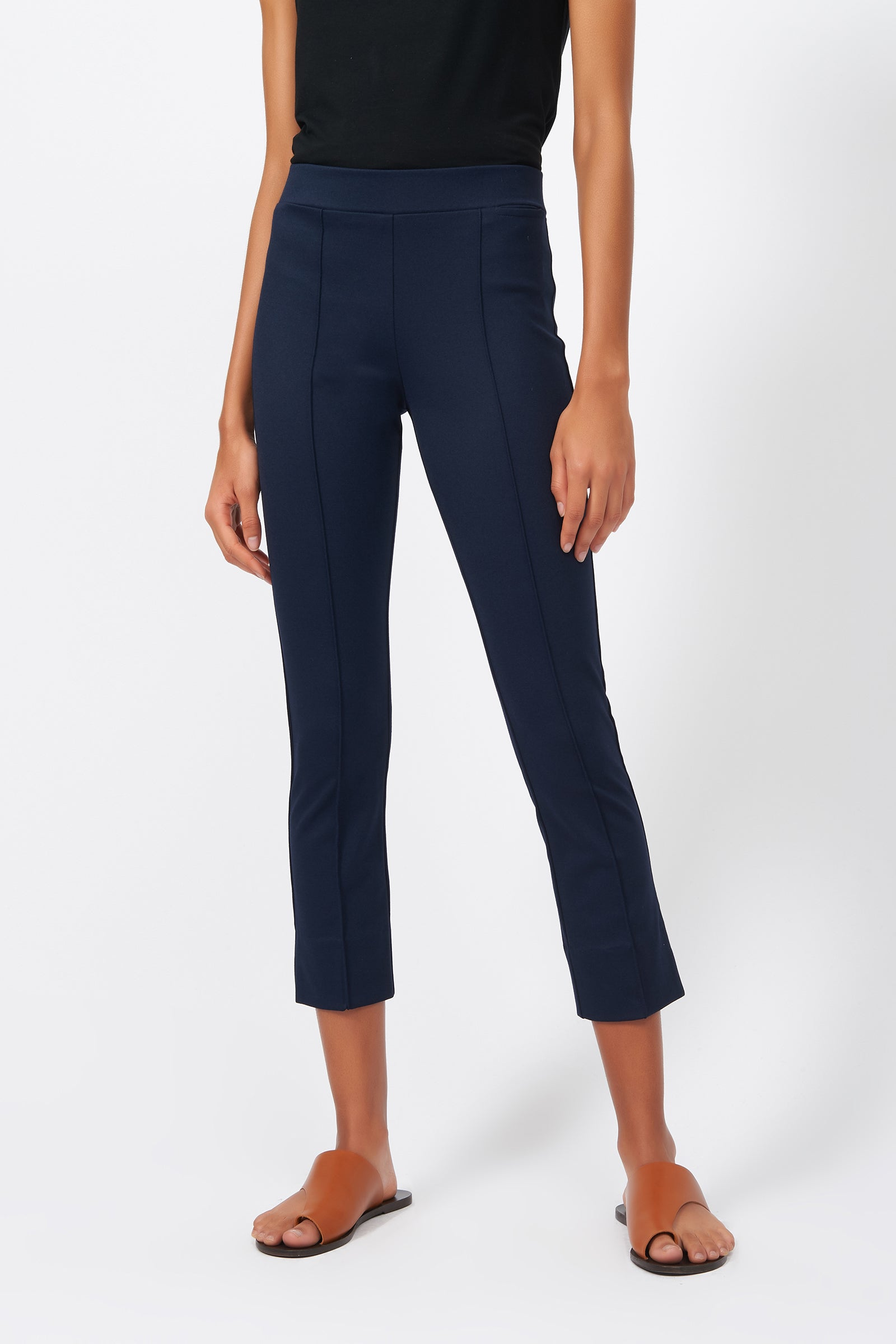 Kal Rieman Pintuck Slit Capri in Navy on Model Front View