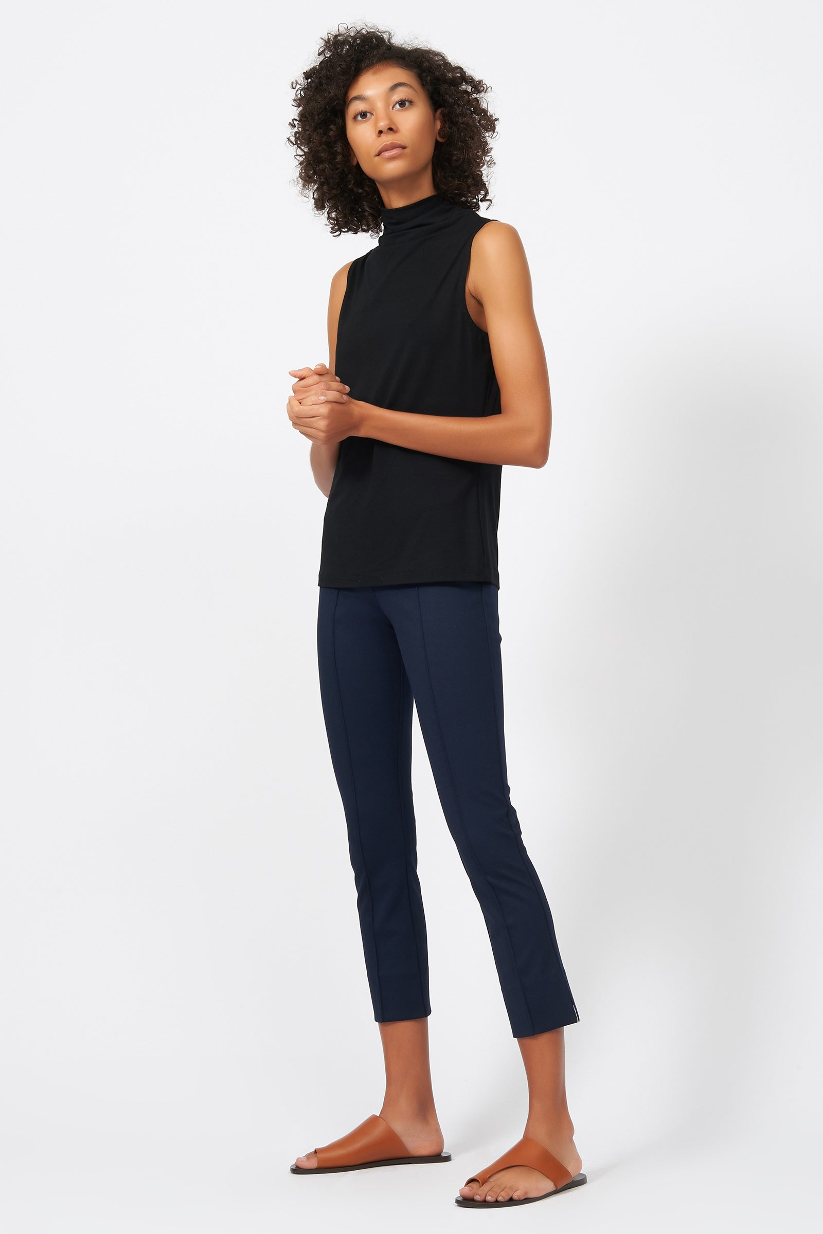 Kal Rieman Pintuck Slit Capri in Navy on Model Full Side View